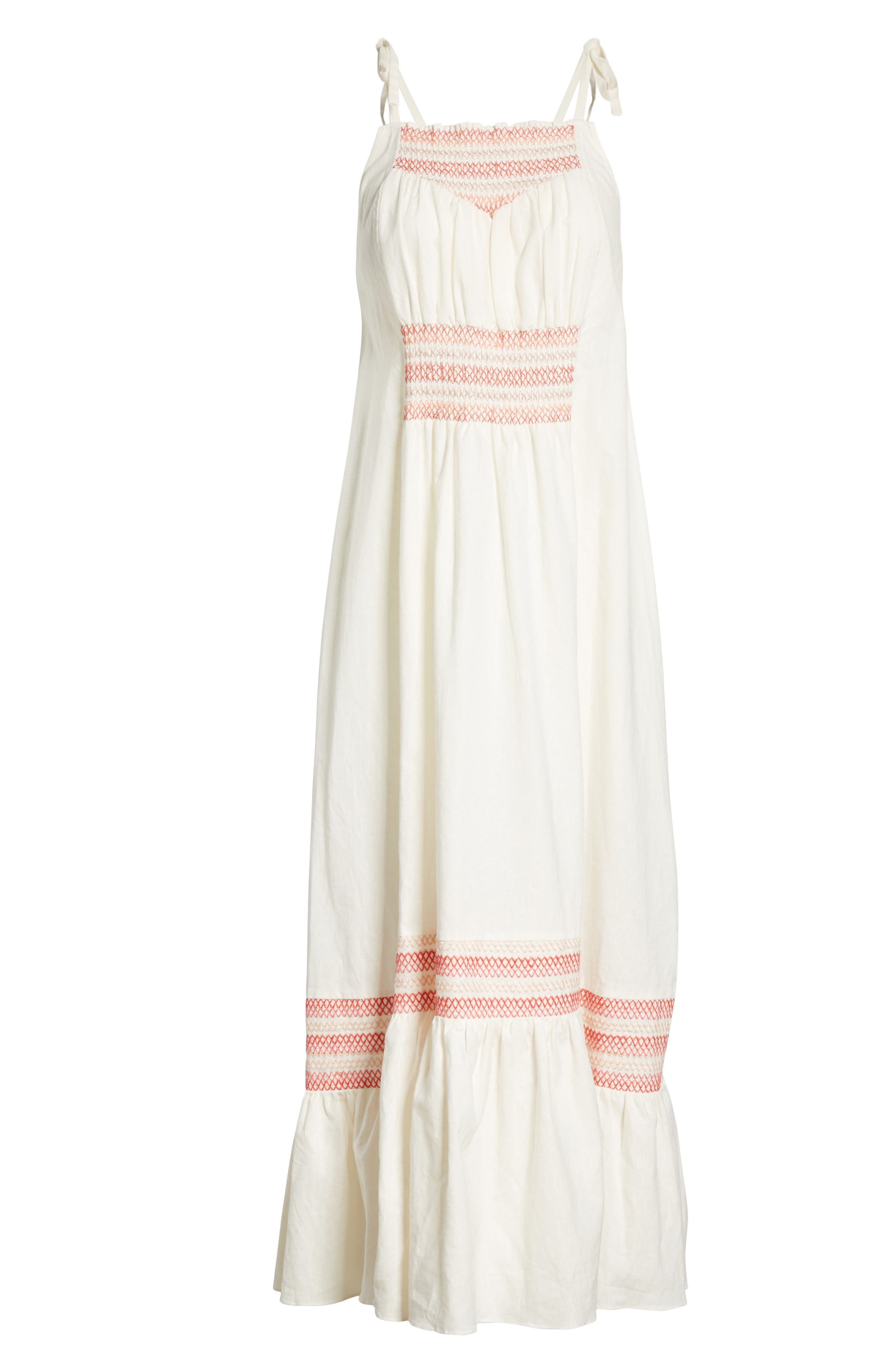 Another Love Smocked Midi Dress,                             Alternate thumbnail 6, color,                             Ivory