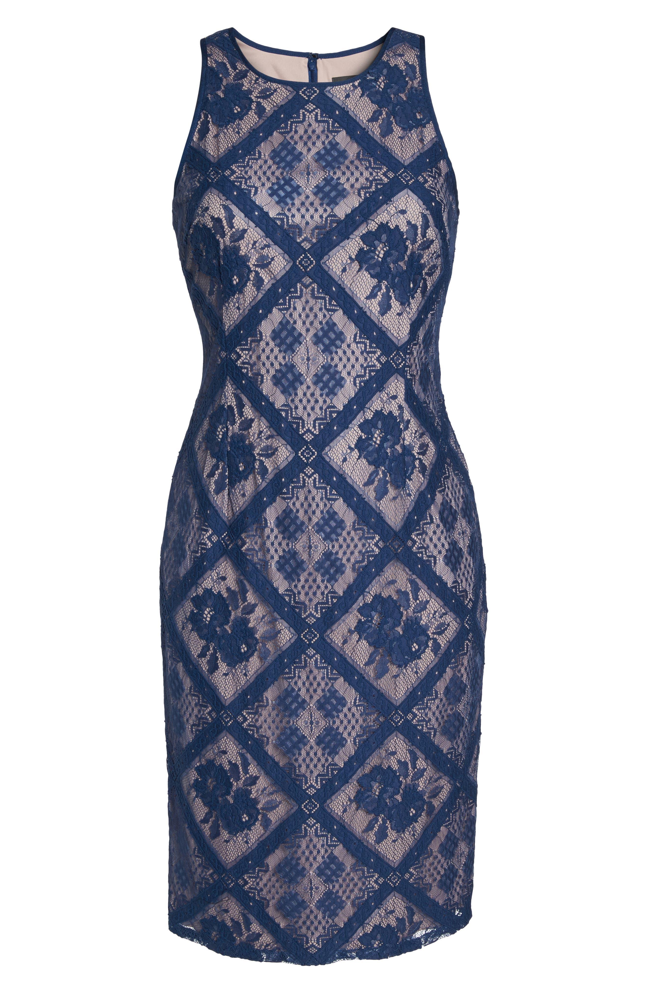 Floral Lace Sheath Dress,                             Alternate thumbnail 6, color,                             Navy Sateen
