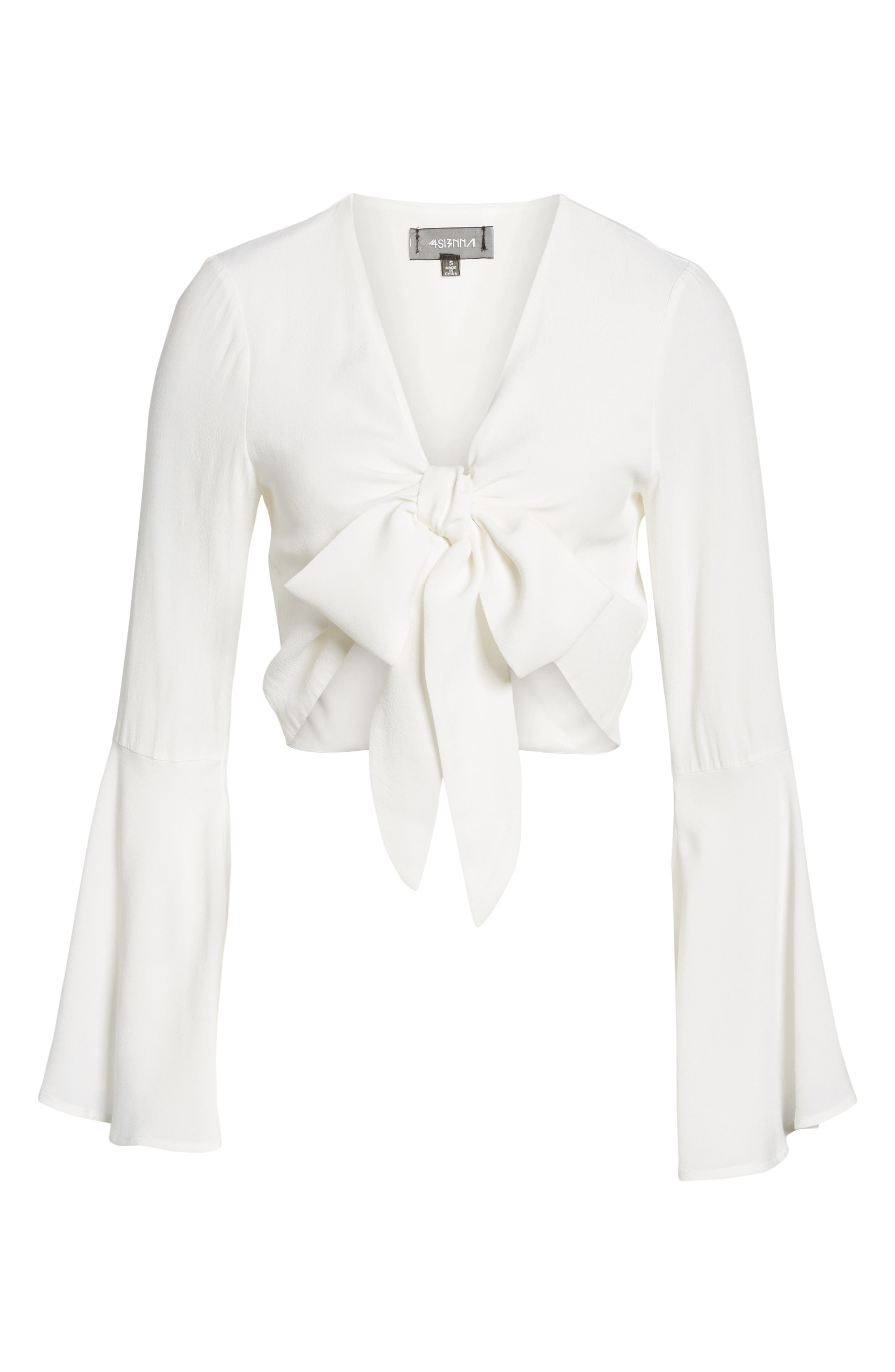 Tie Front Bell Sleeve Top,                             Alternate thumbnail 6, color,                             Ivory