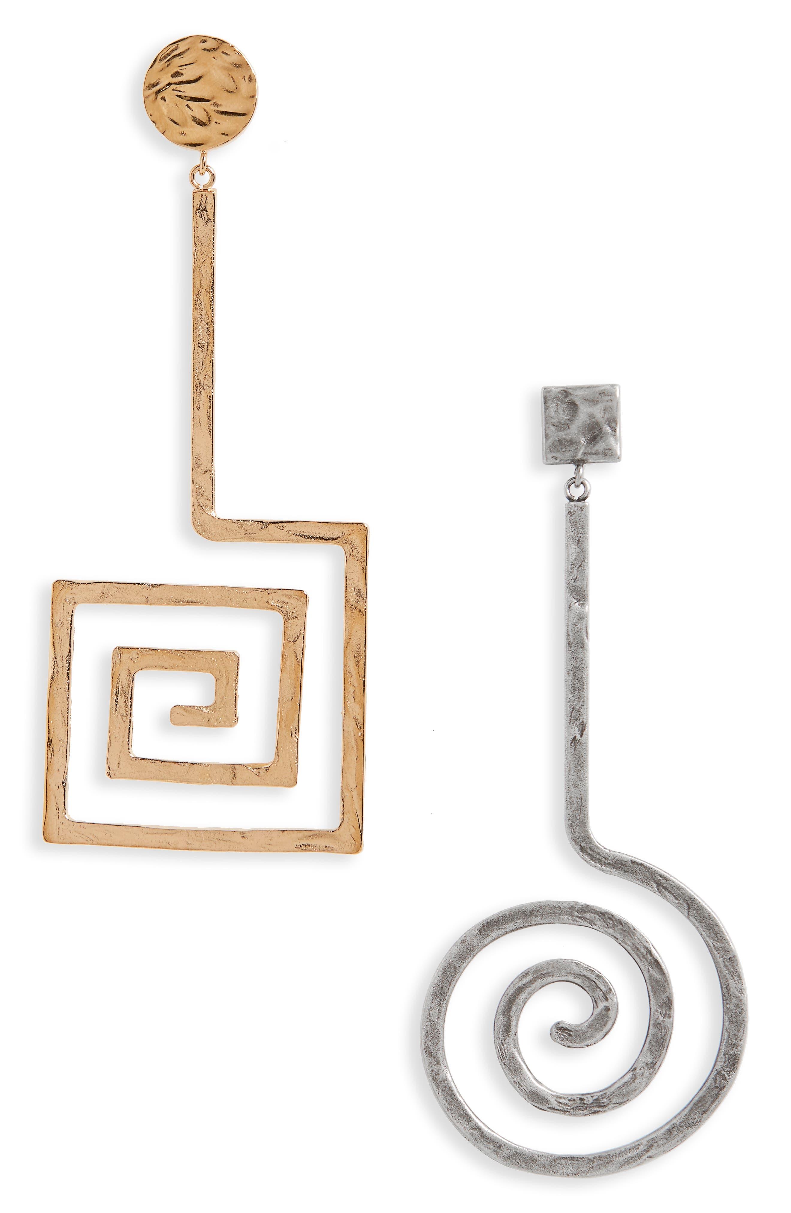 La Spirale Mismatched Statement Earrings,                         Main,                         color, Gold/ Silver