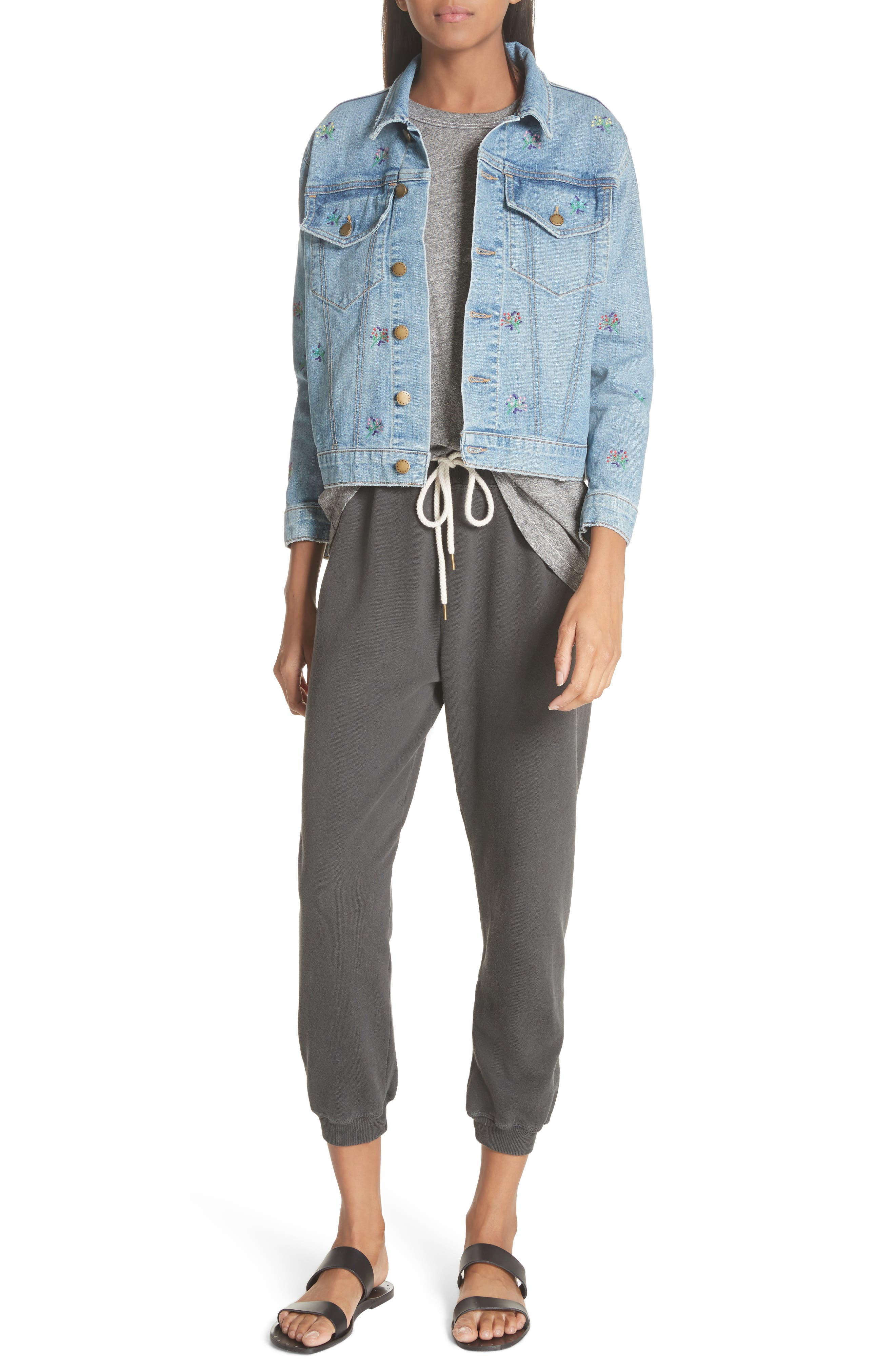 The Boxy Jean Jacket,                             Alternate thumbnail 7, color,                             Canteen Wash W/ Flower Emb