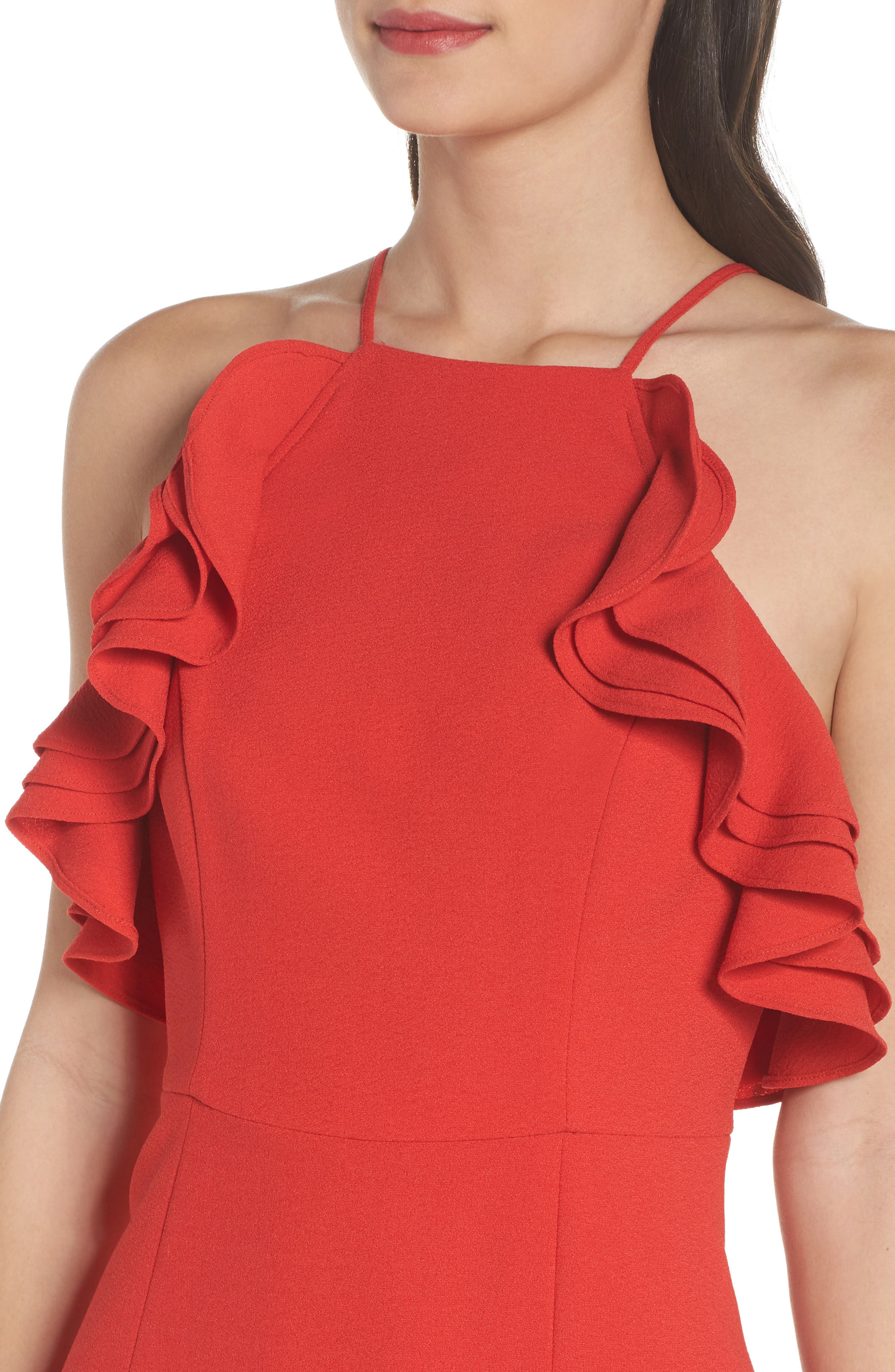 Ruffle Halter Gown,                             Alternate thumbnail 4, color,                             Cherry