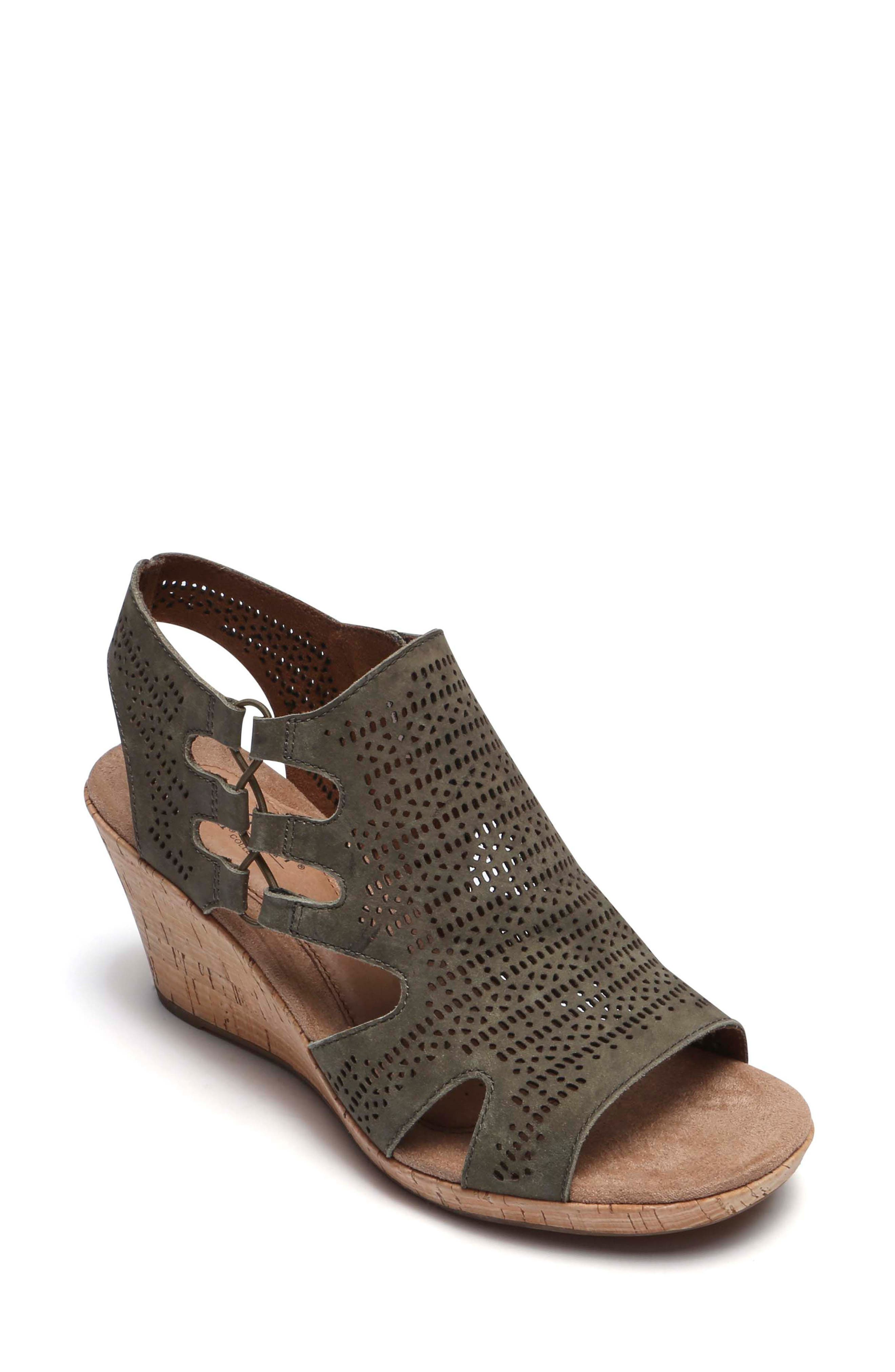 Janna Perforated Wedge Sandal,                             Main thumbnail 1, color,                             Green Nubuck Leather