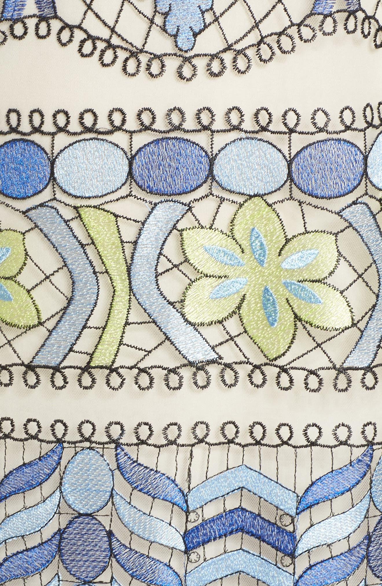 Emboidered Ruffle Sleeve Dress,                             Alternate thumbnail 5, color,                             Blue