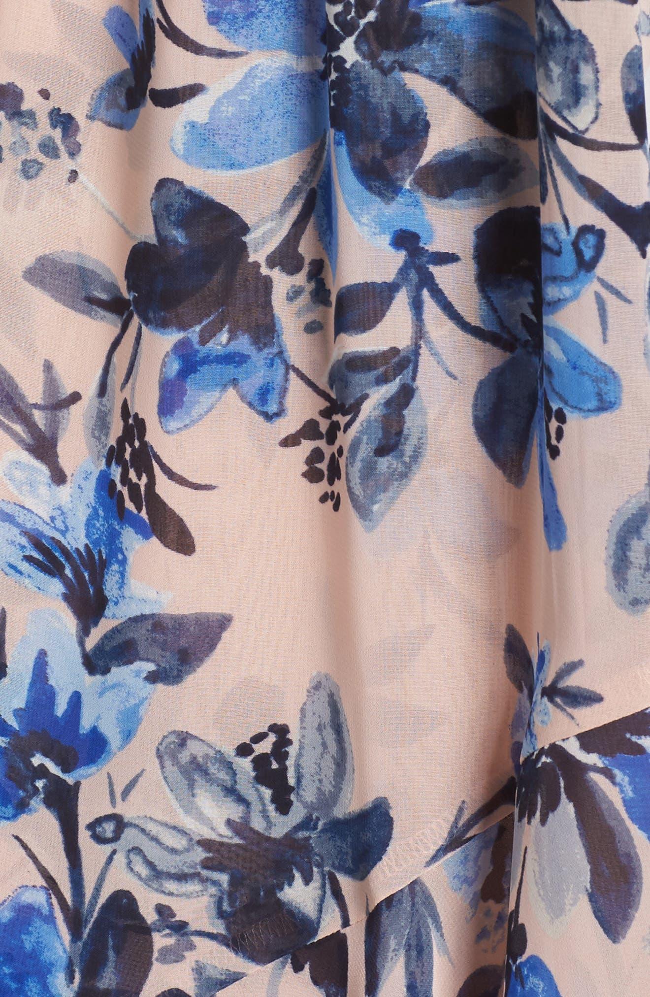 Sleeveless High/Low Dress,                             Alternate thumbnail 5, color,                             Blush/ Blue