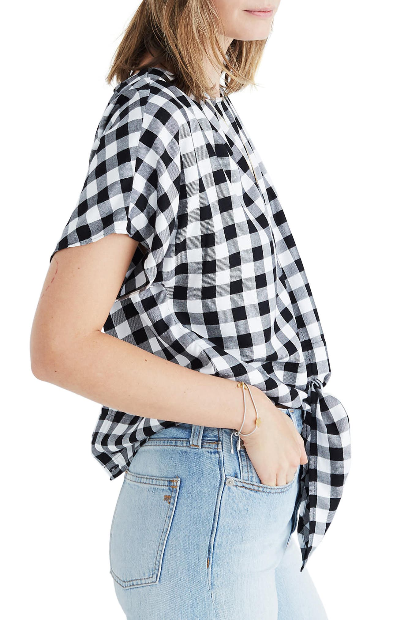 Alternate Image 3  - Madewell Buffalo Check Button Back Tie Top