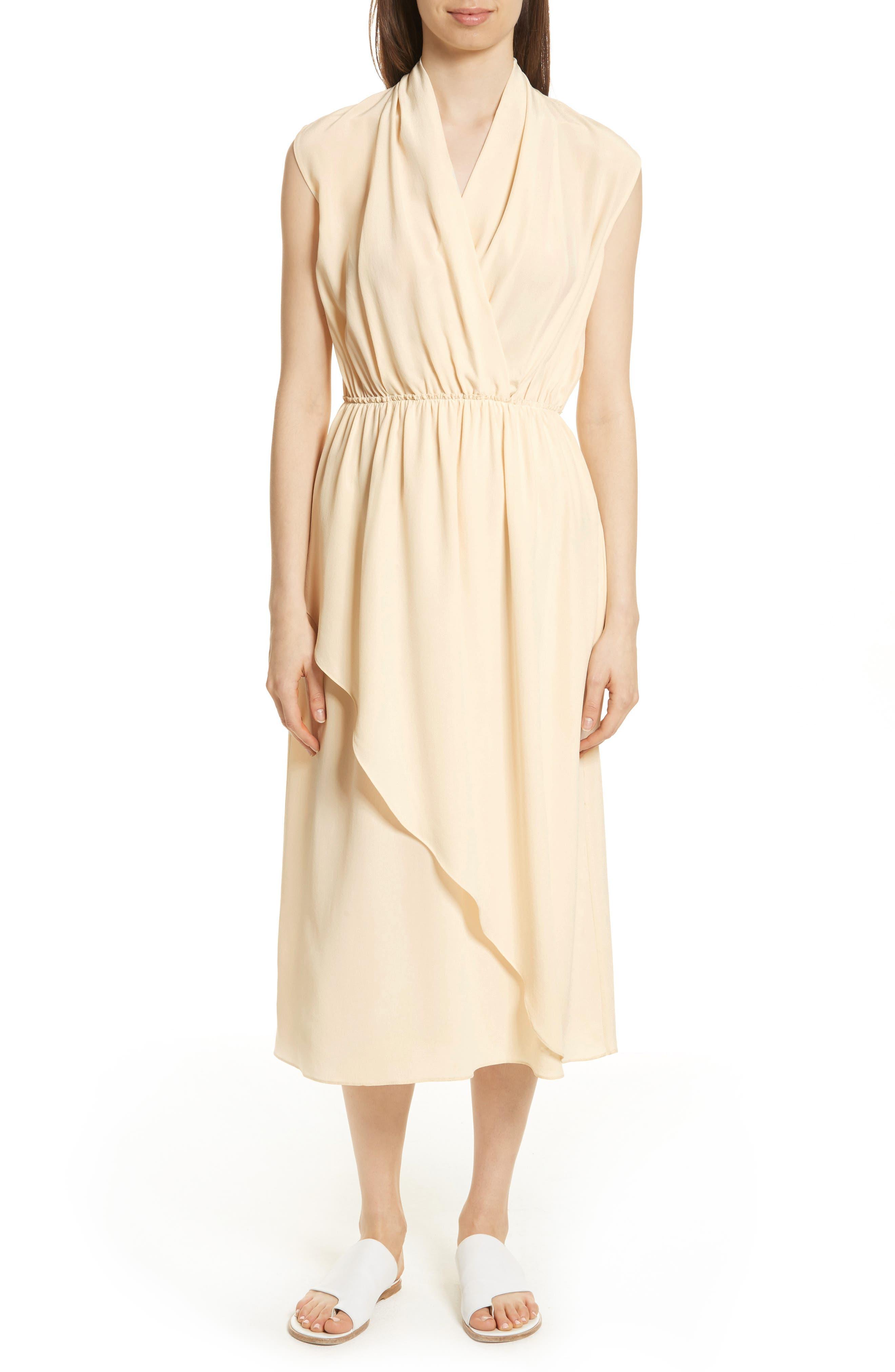 Draped Silk Cross Front Dress,                             Main thumbnail 1, color,                             Buttercream