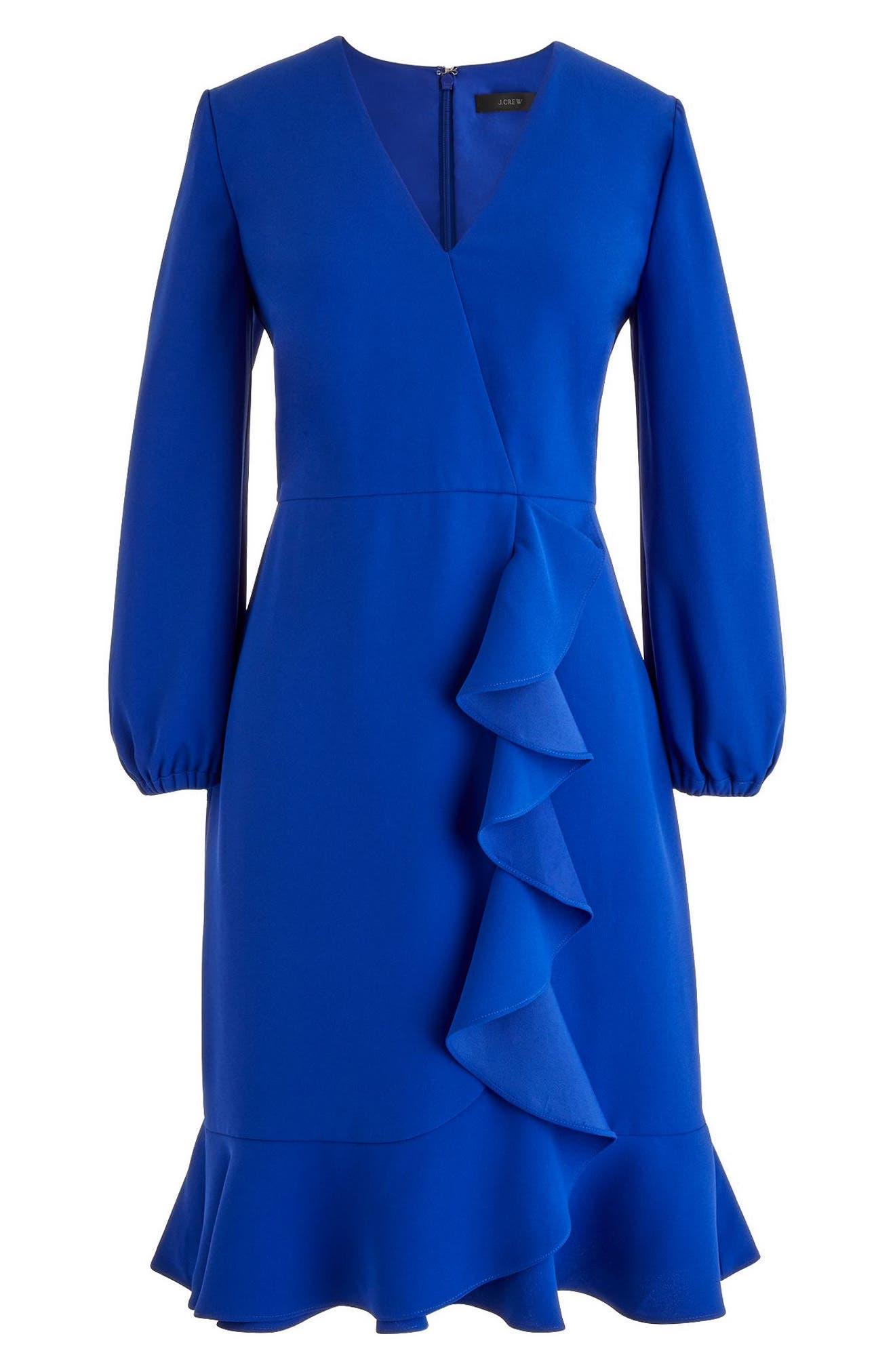 J.Crew Drapey Ruffle Front Dress,                             Alternate thumbnail 4, color,                             Bright Ocean