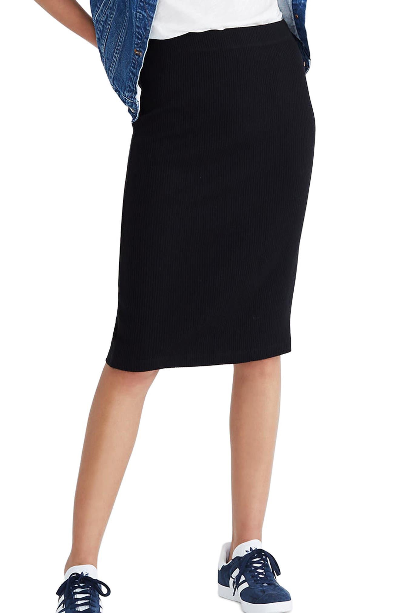 Ribbed Pencil Skirt,                         Main,                         color, True Black