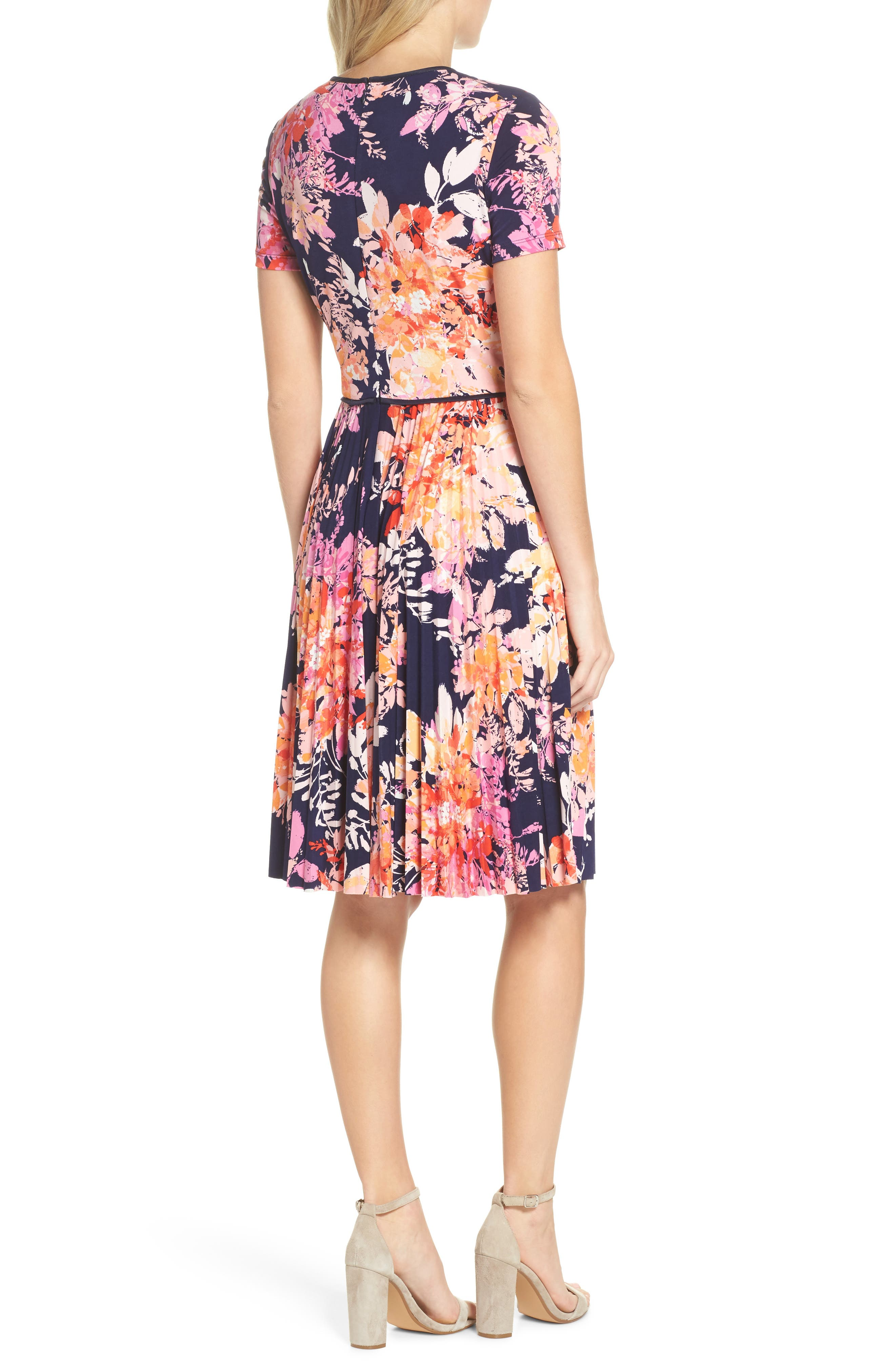 Pleat Fit & Flare Dress,                             Alternate thumbnail 2, color,                             Navy/ Orange