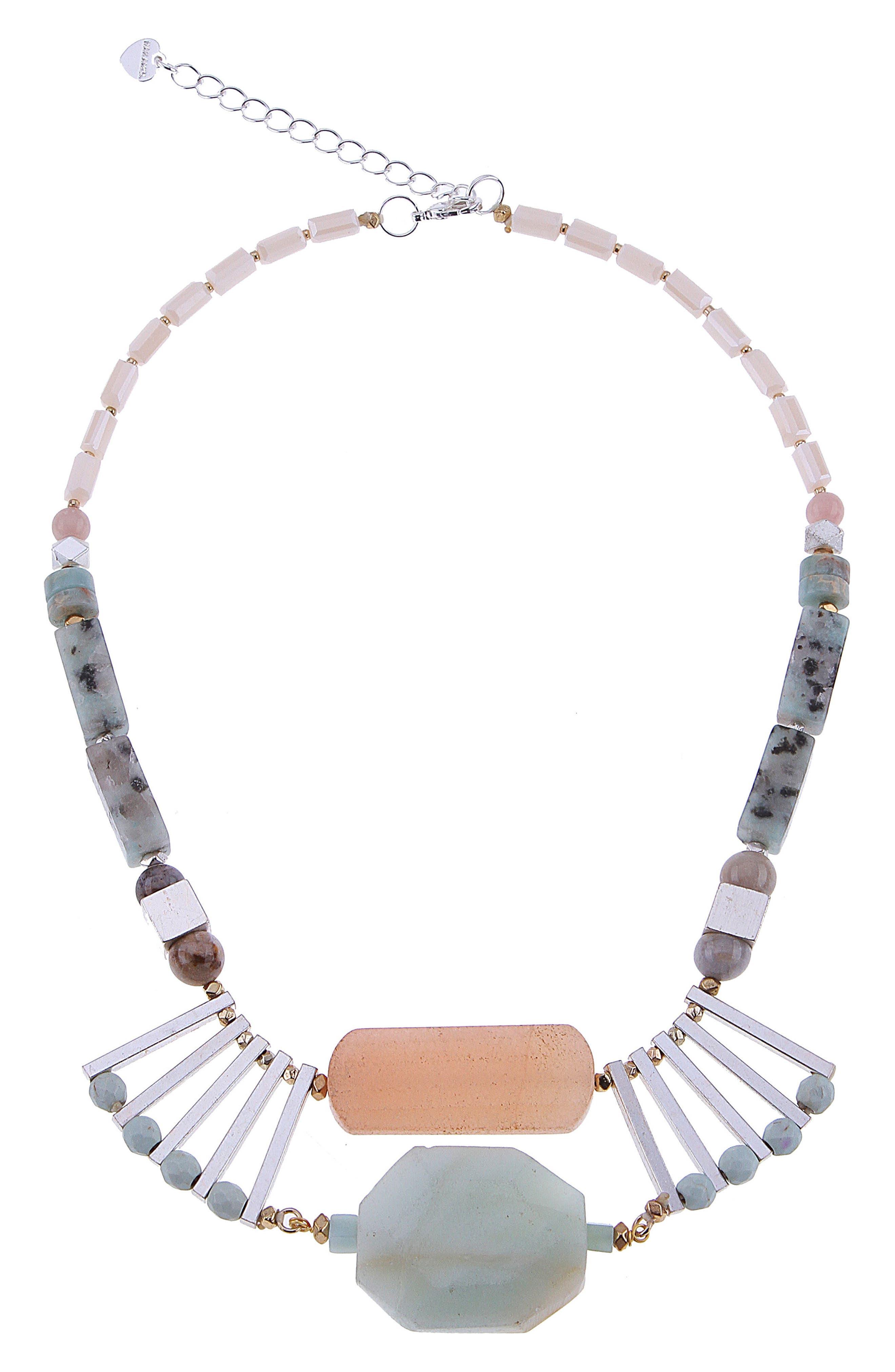 Agate & Amazonite Chunk Stone Statement Necklace,                         Main,                         color, Aqua
