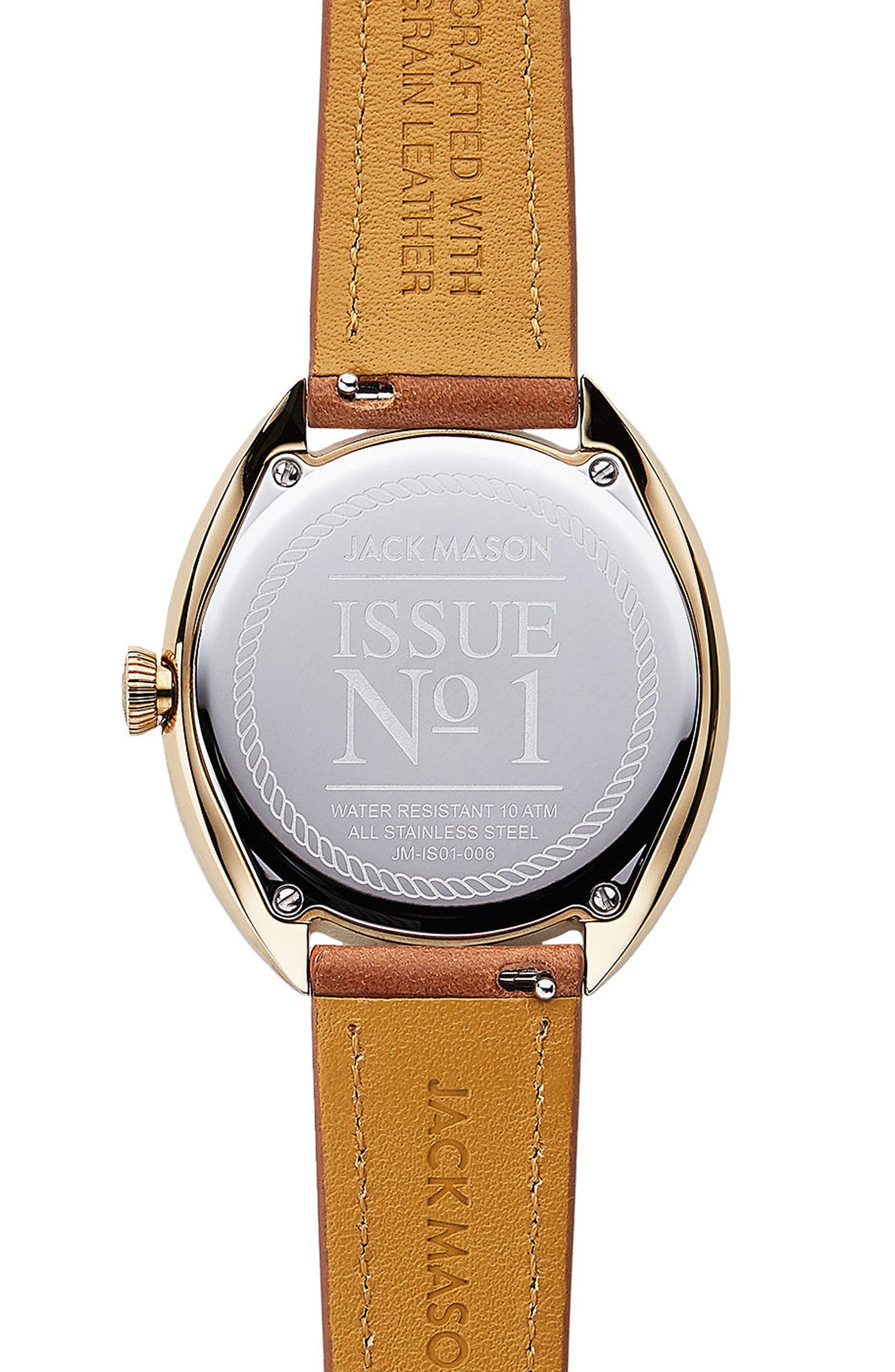 Issue No. 1 Leather Strap Watch, 41mm,                             Alternate thumbnail 3, color,                             Tan/ White/ Gold