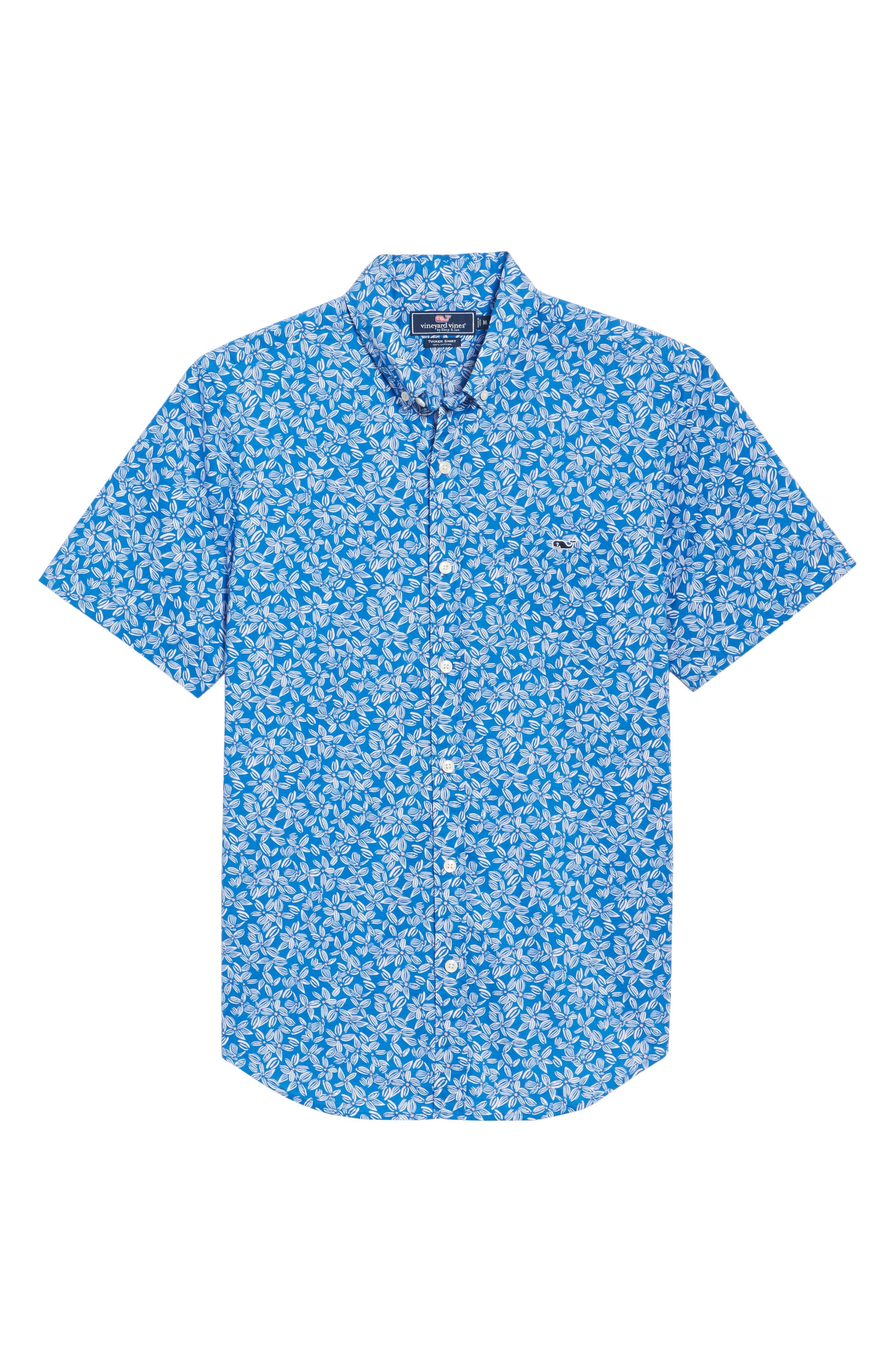 Linear Floral Slim Fit Print Short Sleeve Sport Shirt,                             Alternate thumbnail 6, color,                             Spinnaker