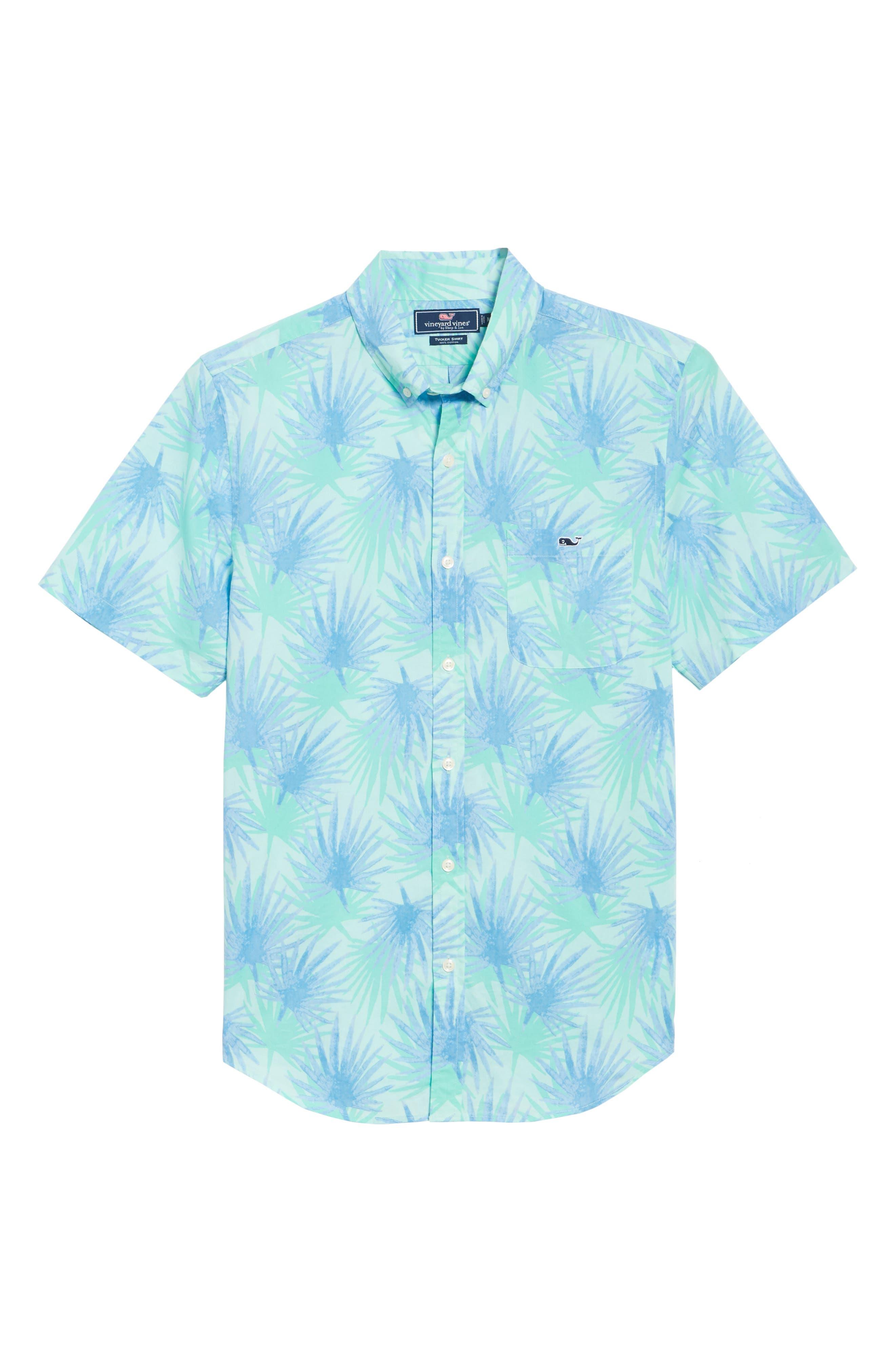 Electric Palm Slim Fit Print Short Sleeve Sport Shirt,                             Alternate thumbnail 6, color,                             Aquamarine