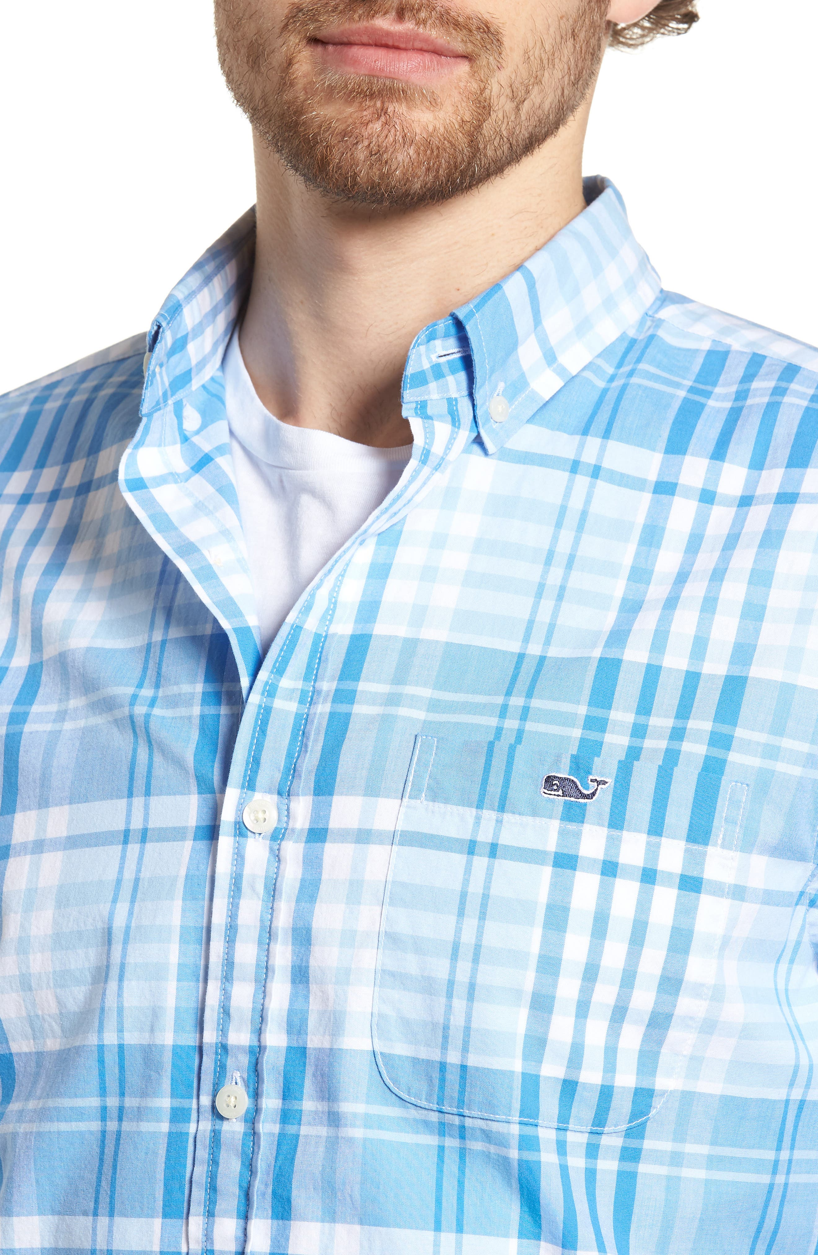 Crawfish Plaid Slim Fit Sport Shirt,                             Alternate thumbnail 4, color,                             Jake Blue