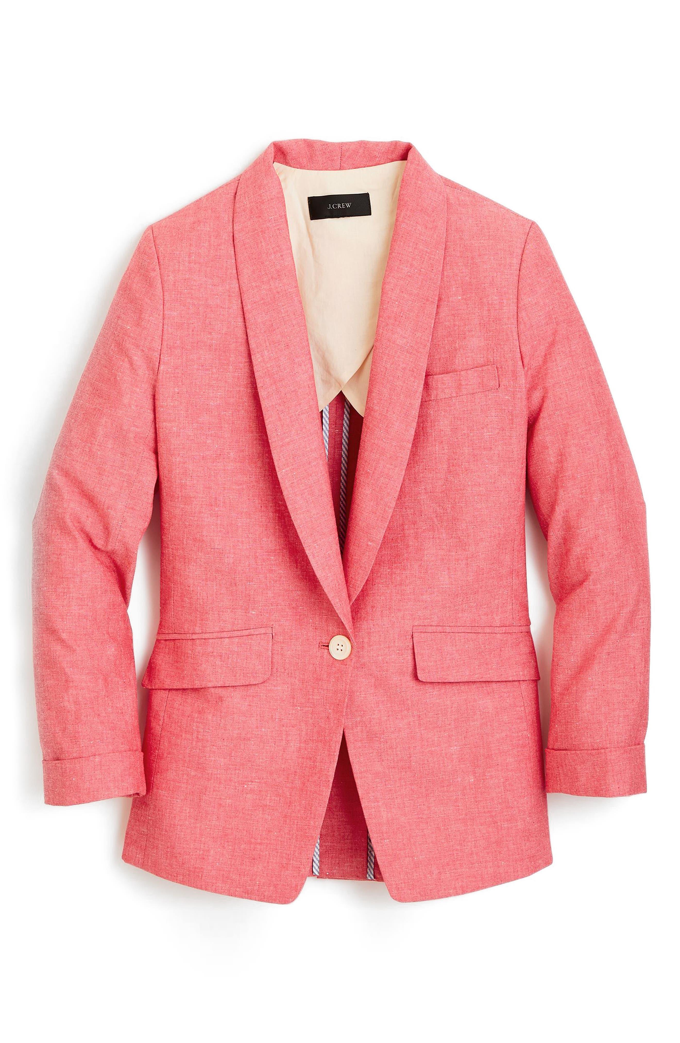 J.Crew Unstructured Shawl Collar Cotton Linen Blazer,                             Main thumbnail 1, color,                             Firecracker Red
