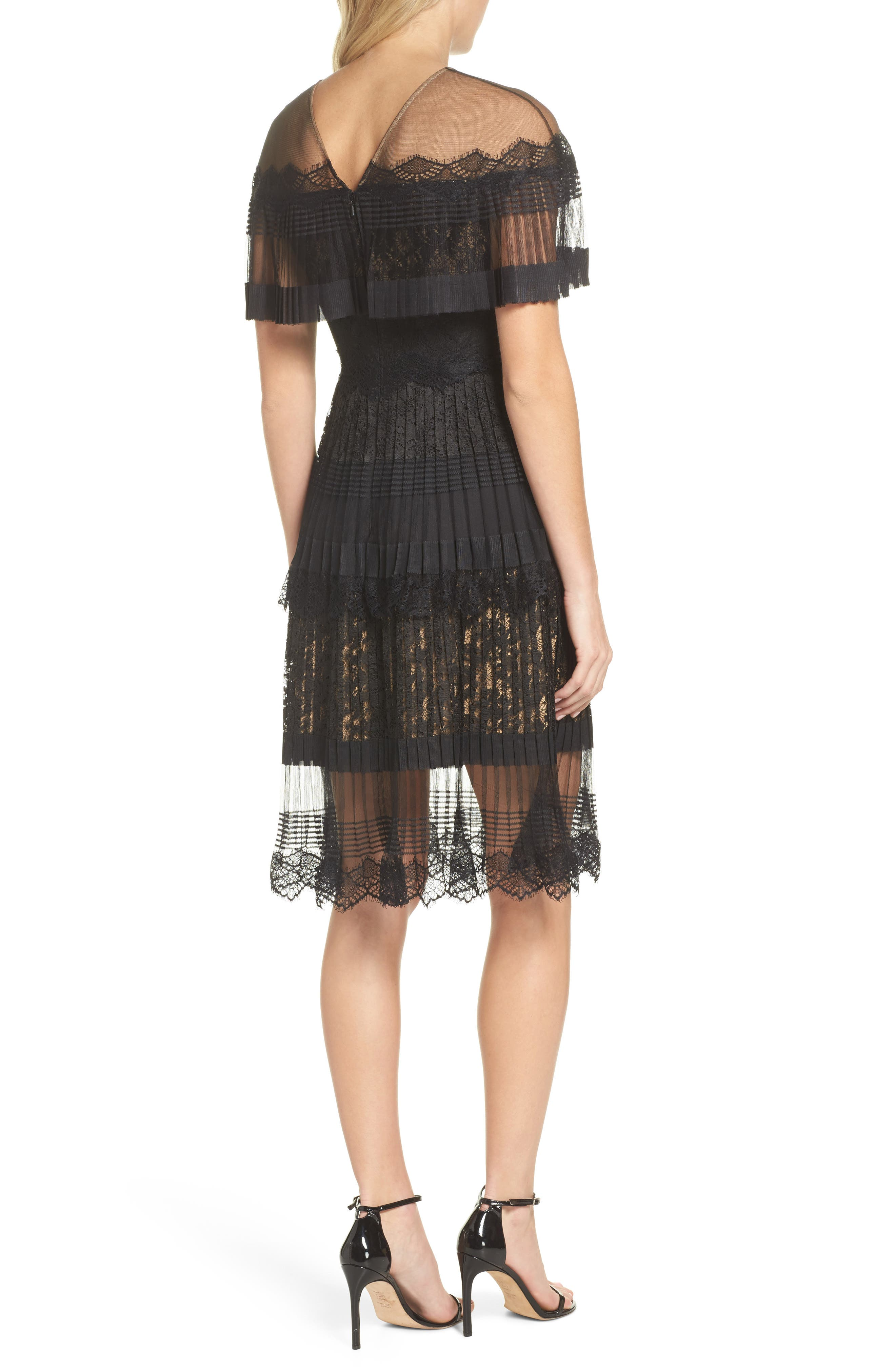 Pleated Lace Dress,                             Alternate thumbnail 2, color,                             Black/ Nude