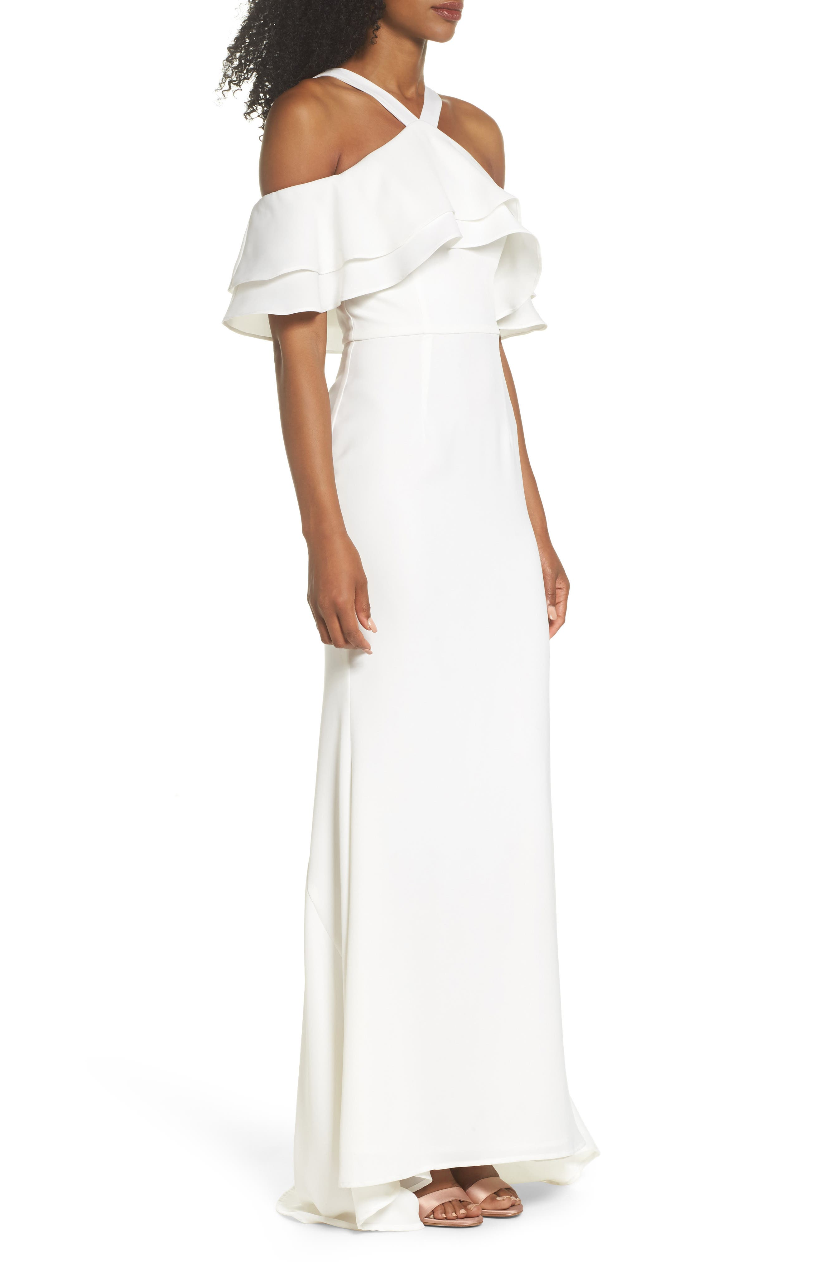 Dianne Ruffle Top Halter Gown,                             Alternate thumbnail 3, color,                             White
