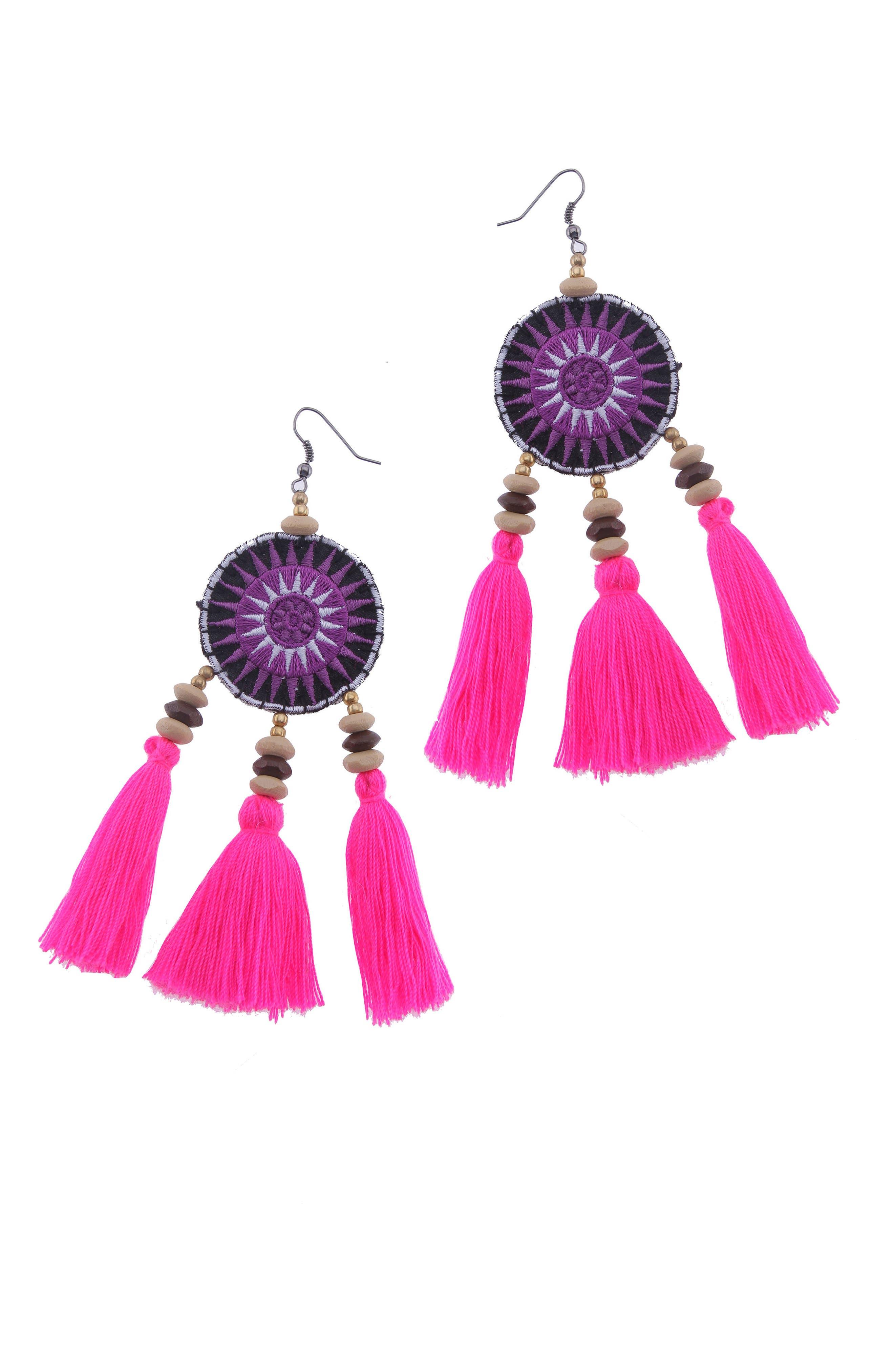 Crochet Tassel Earrings,                             Main thumbnail 1, color,                             Purple
