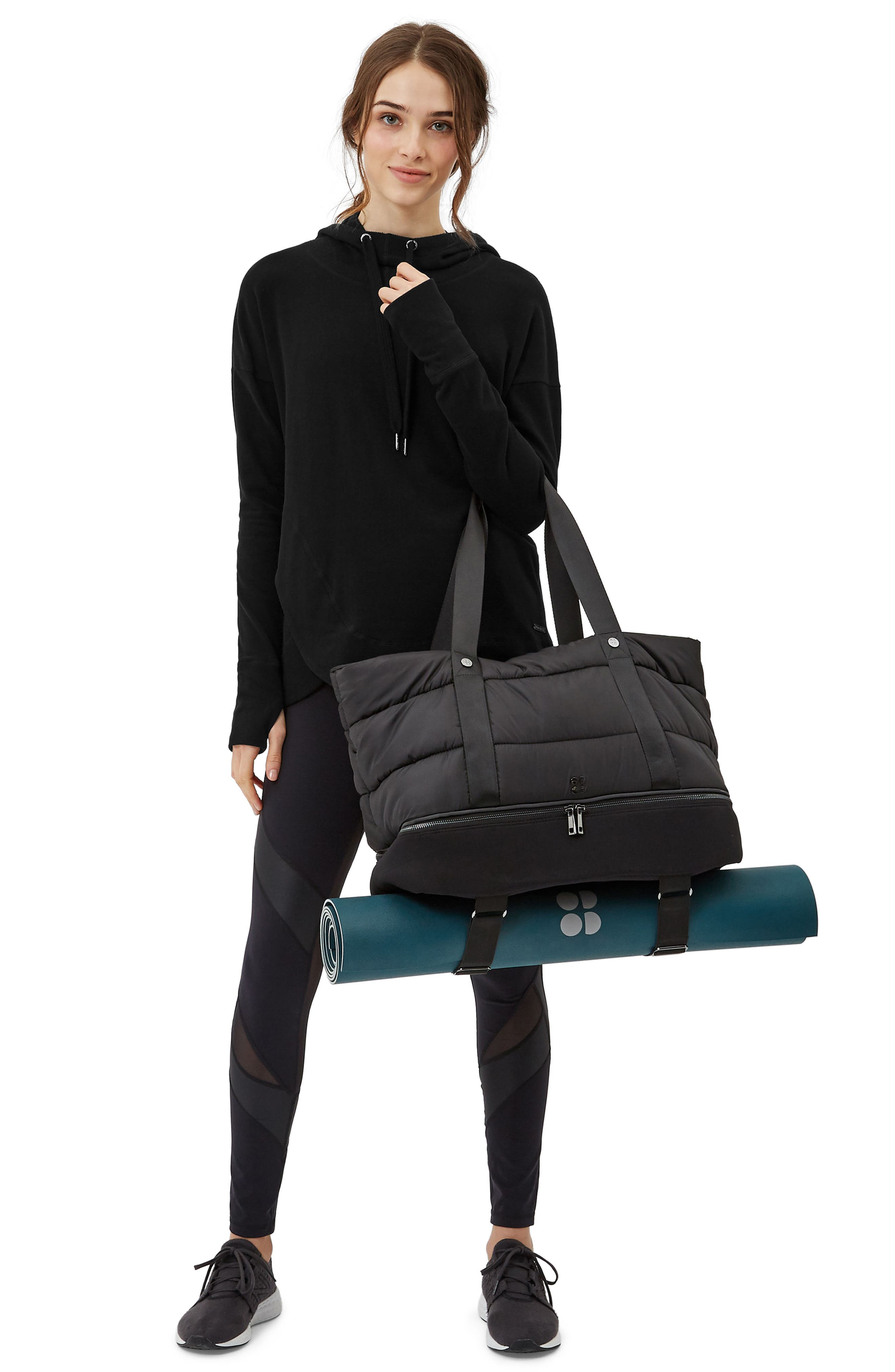 Sweat Betty Luxe Gym Bag,                             Alternate thumbnail 2, color,                             Black
