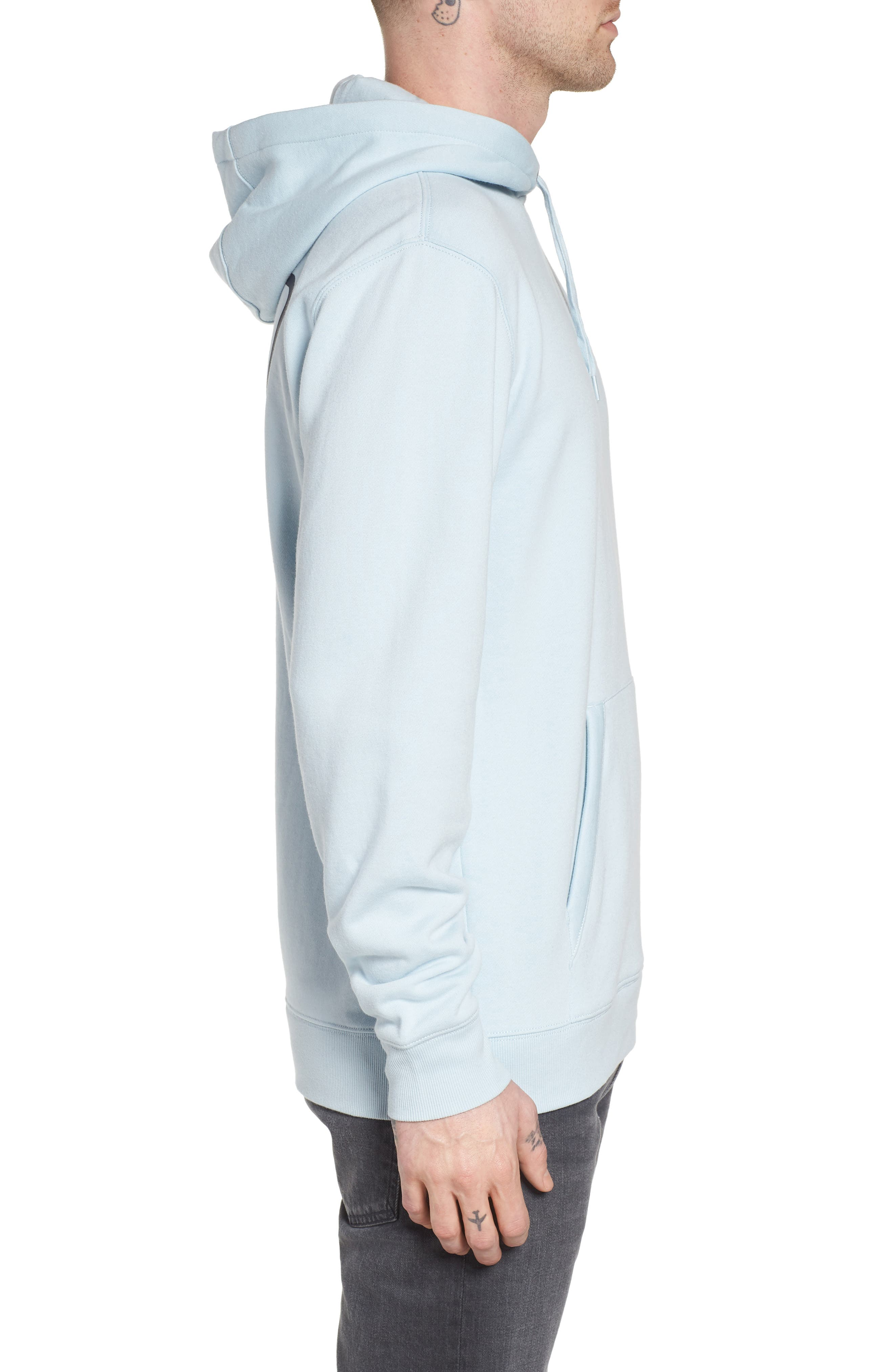 Full Patched Hoodie Sweatshirt,                             Alternate thumbnail 3, color,                             Baby Blue
