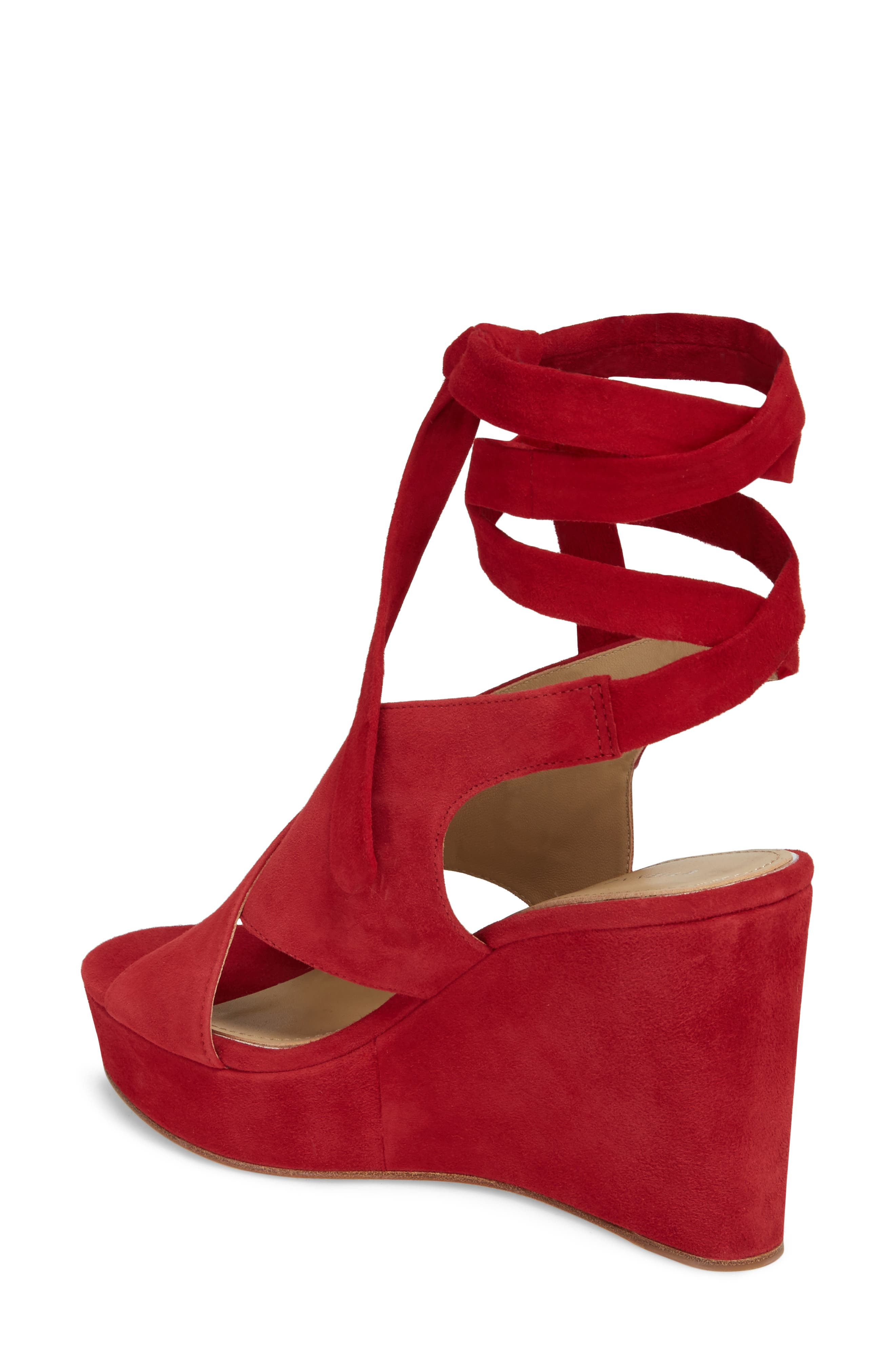 Dominica Platform Wedge Sandal,                             Alternate thumbnail 2, color,                             Cherry Suede
