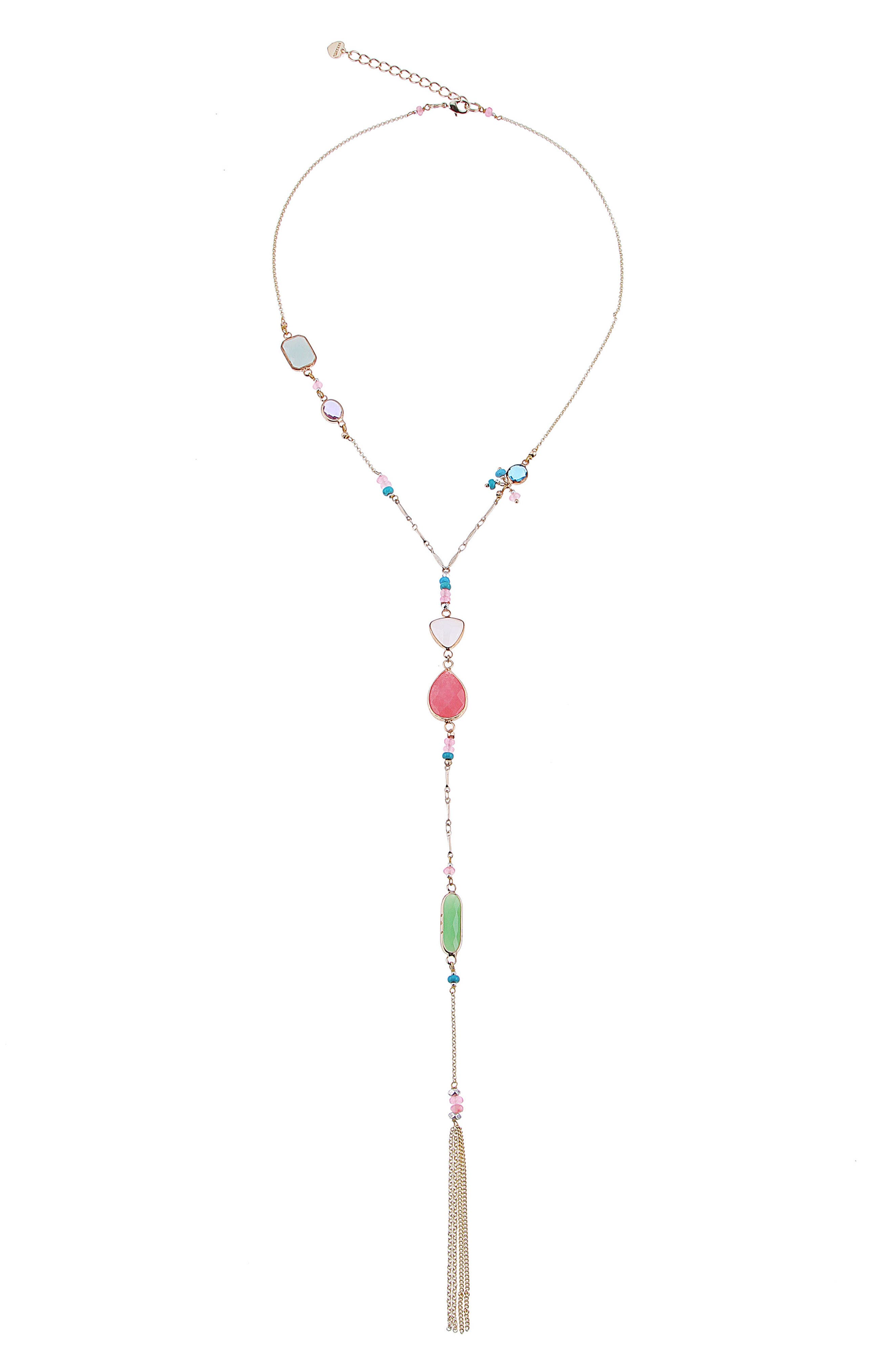 Small Stone Y-Necklace,                             Main thumbnail 1, color,                             Multi