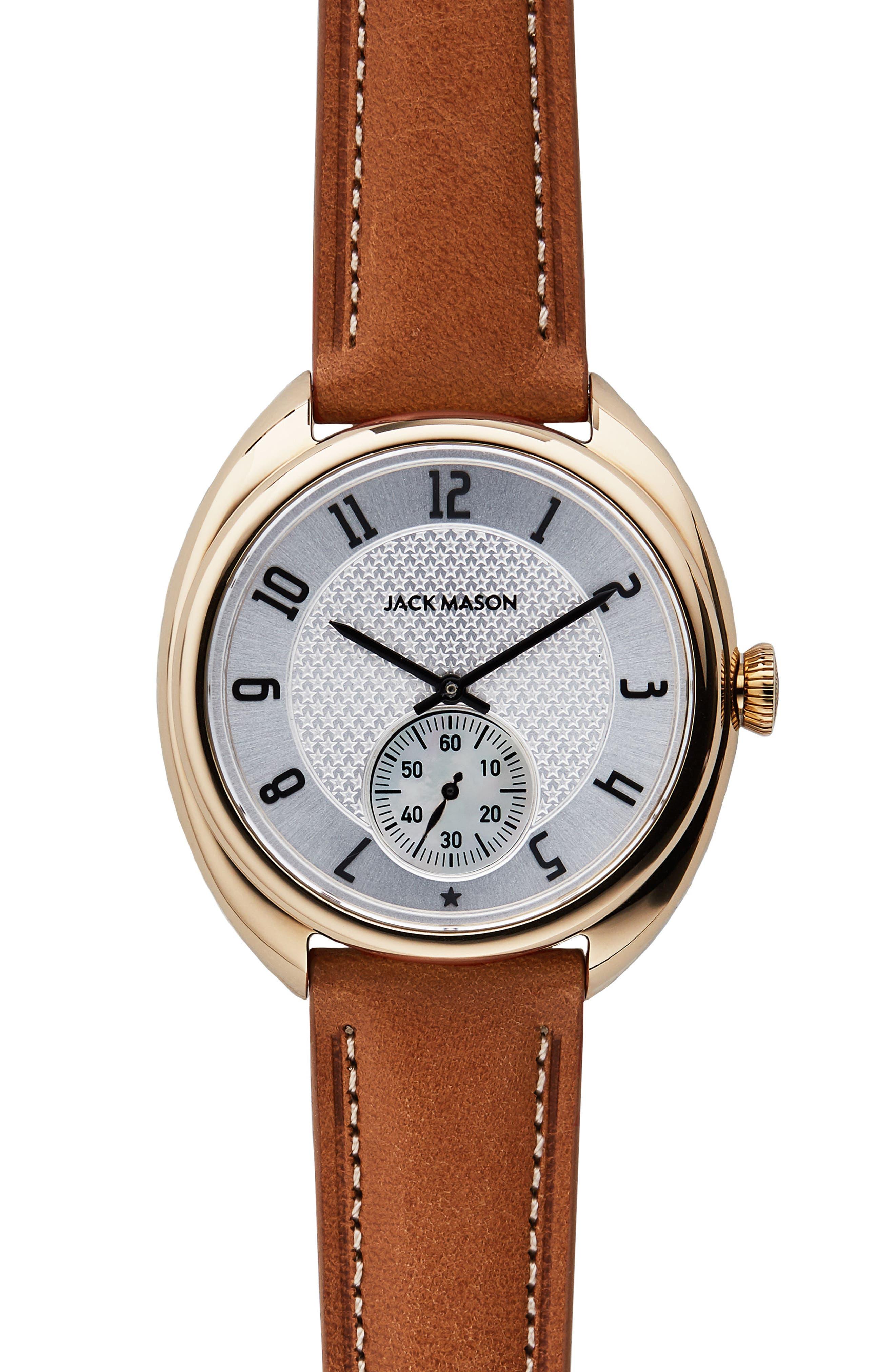 Main Image - Jack Mason Issue No. 1 Leather Strap Watch, 41mm