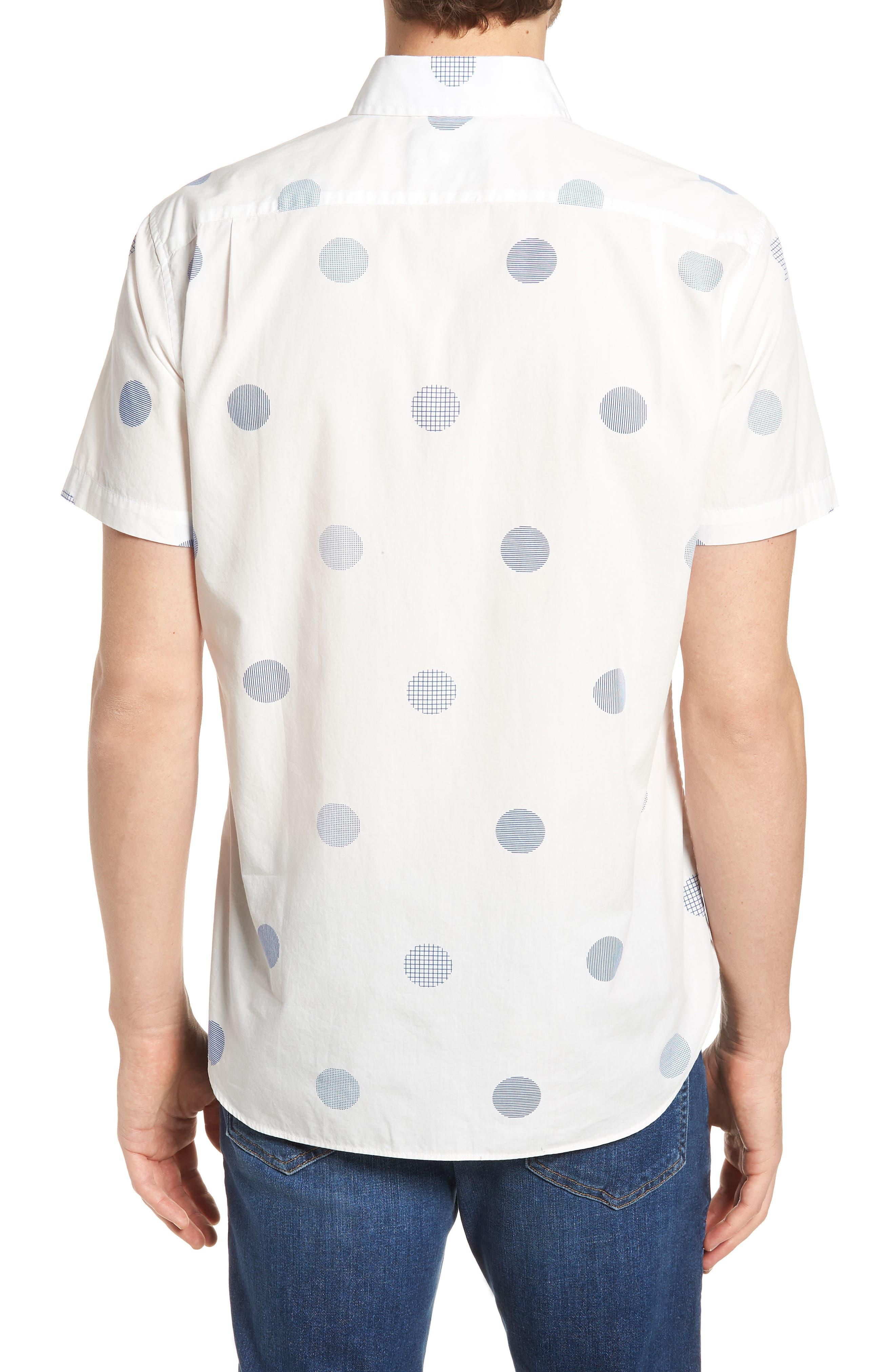 Slim Fit Polka Dot Sport Shirt,                             Alternate thumbnail 3, color,                             Kingston Dot - Maritime Blue