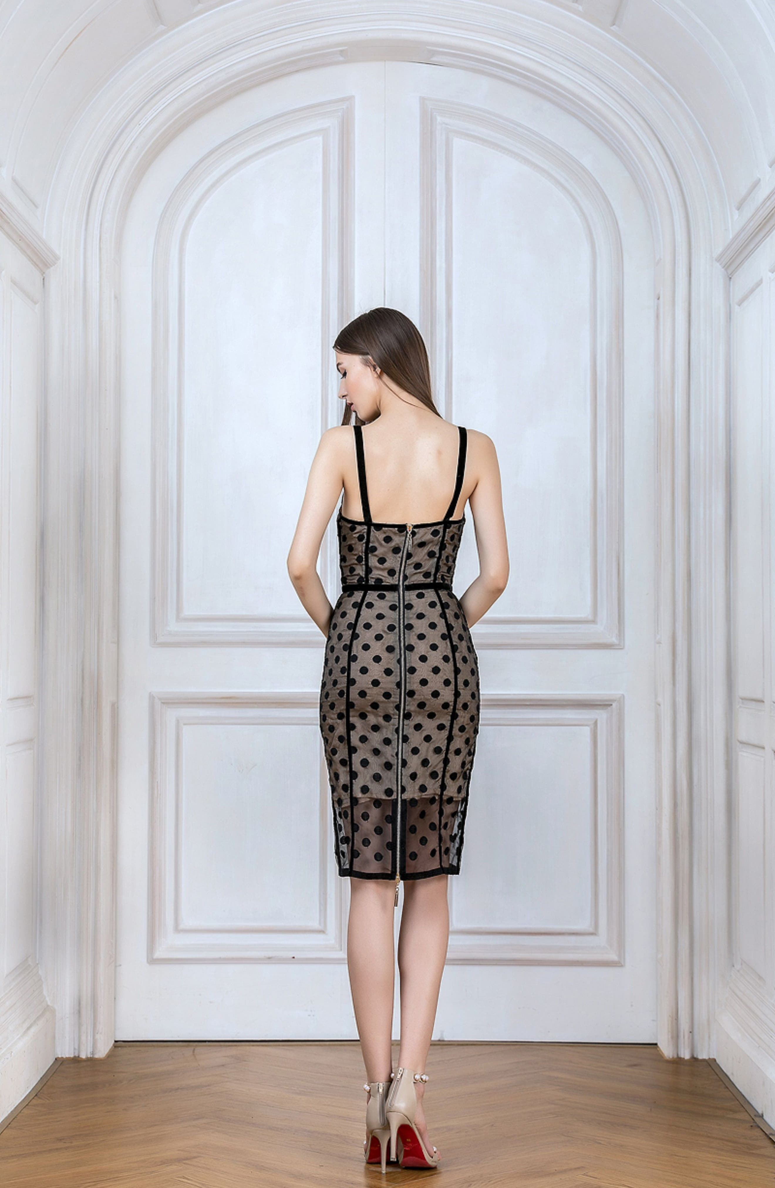 Isabella Noir Dot Embroidered Body-Con Dress,                             Alternate thumbnail 3, color,                             Black/ Nude