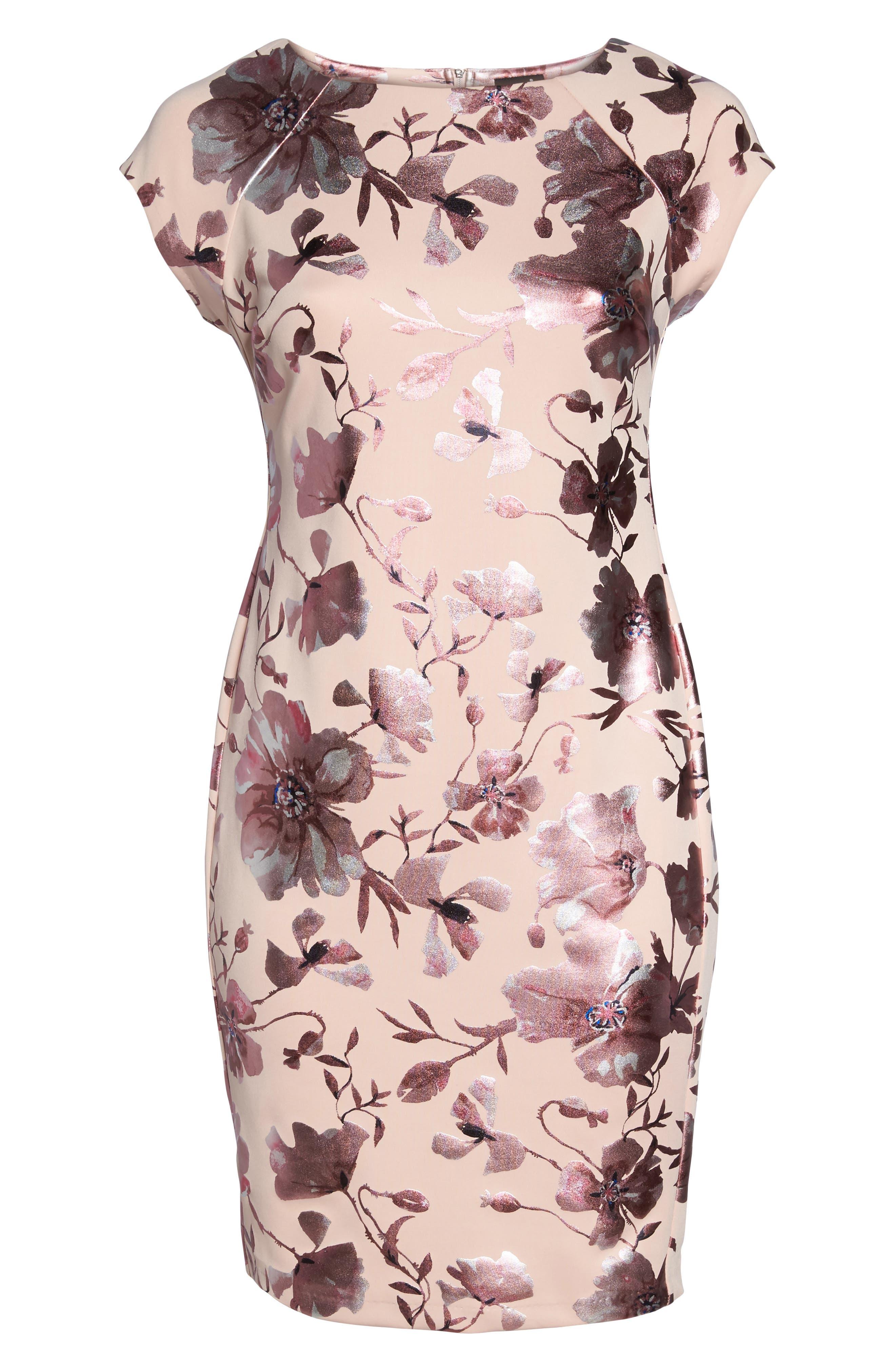 Foil Print Sheath Dress,                             Alternate thumbnail 6, color,                             Pink