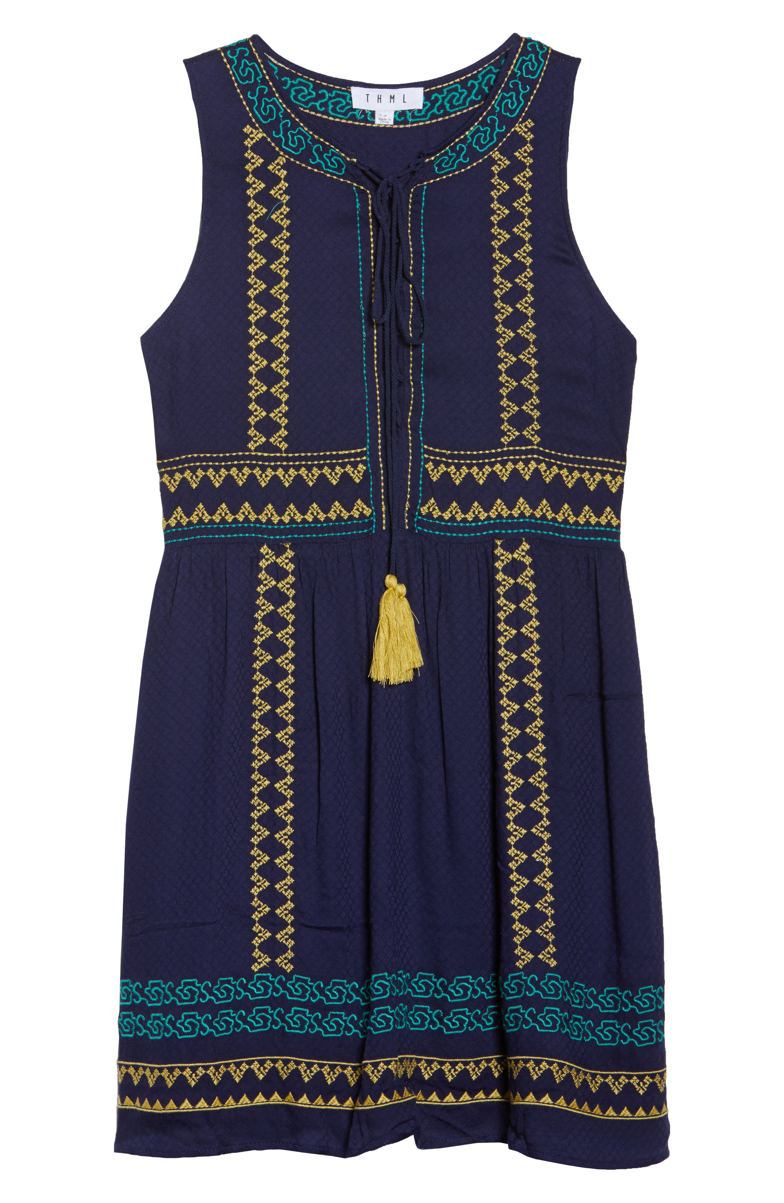 Sleeveless Embroidered A-Line Dress,                             Alternate thumbnail 7, color,                             Navy