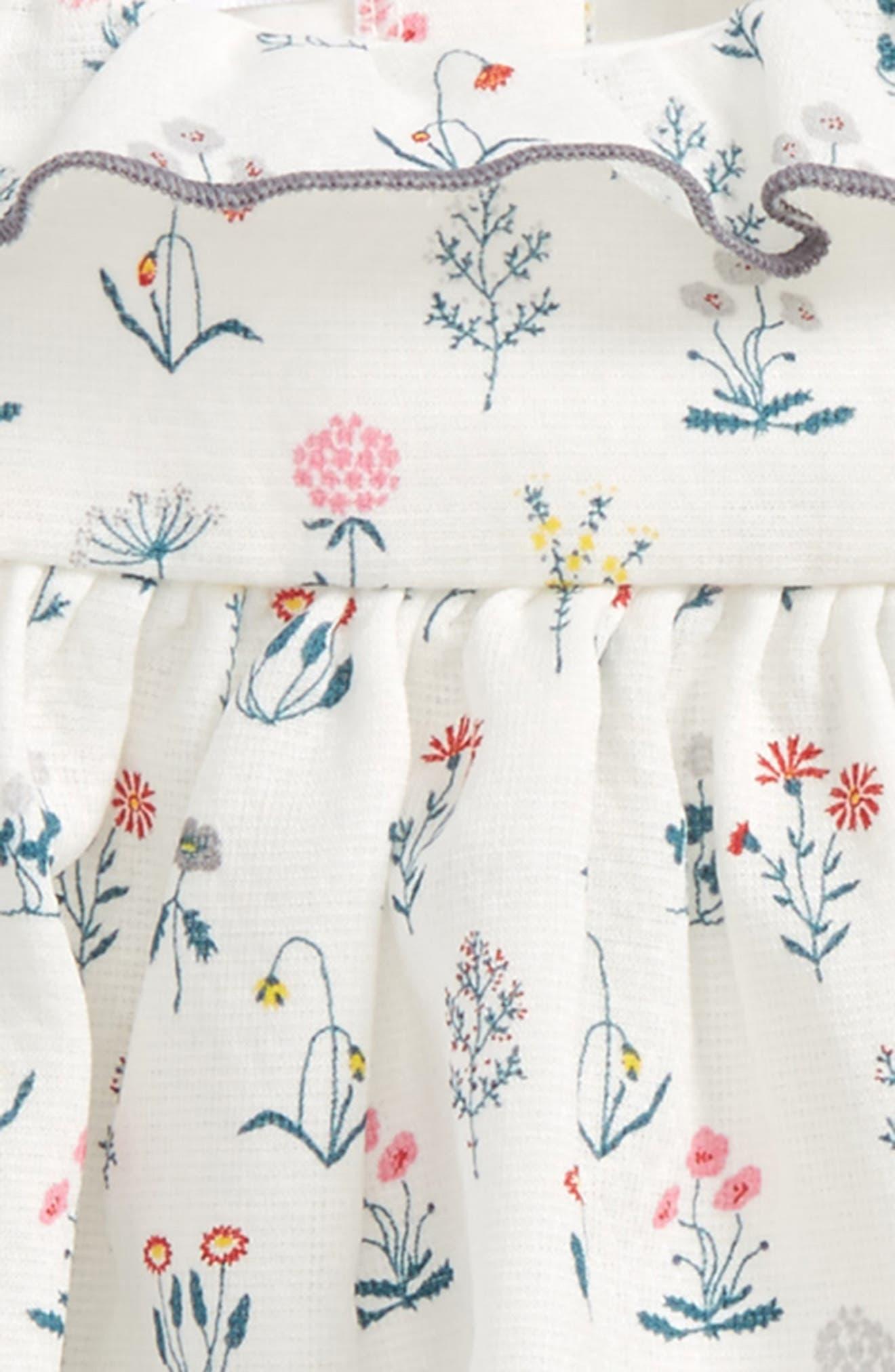 Floral Print Dress & Leggings Set,                             Alternate thumbnail 2, color,                             White/ Grey
