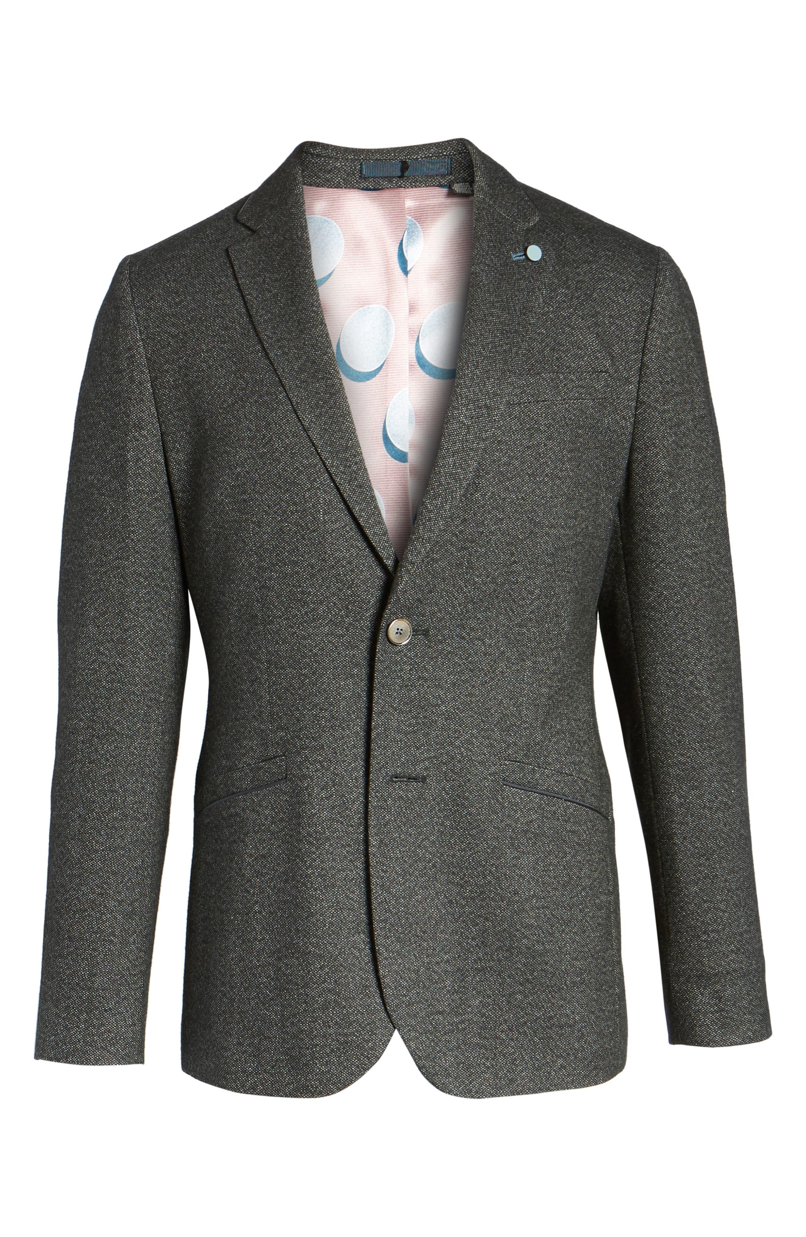 Beektt Semi Plain Trim Fit Jacket,                             Alternate thumbnail 6, color,                             Charcoal