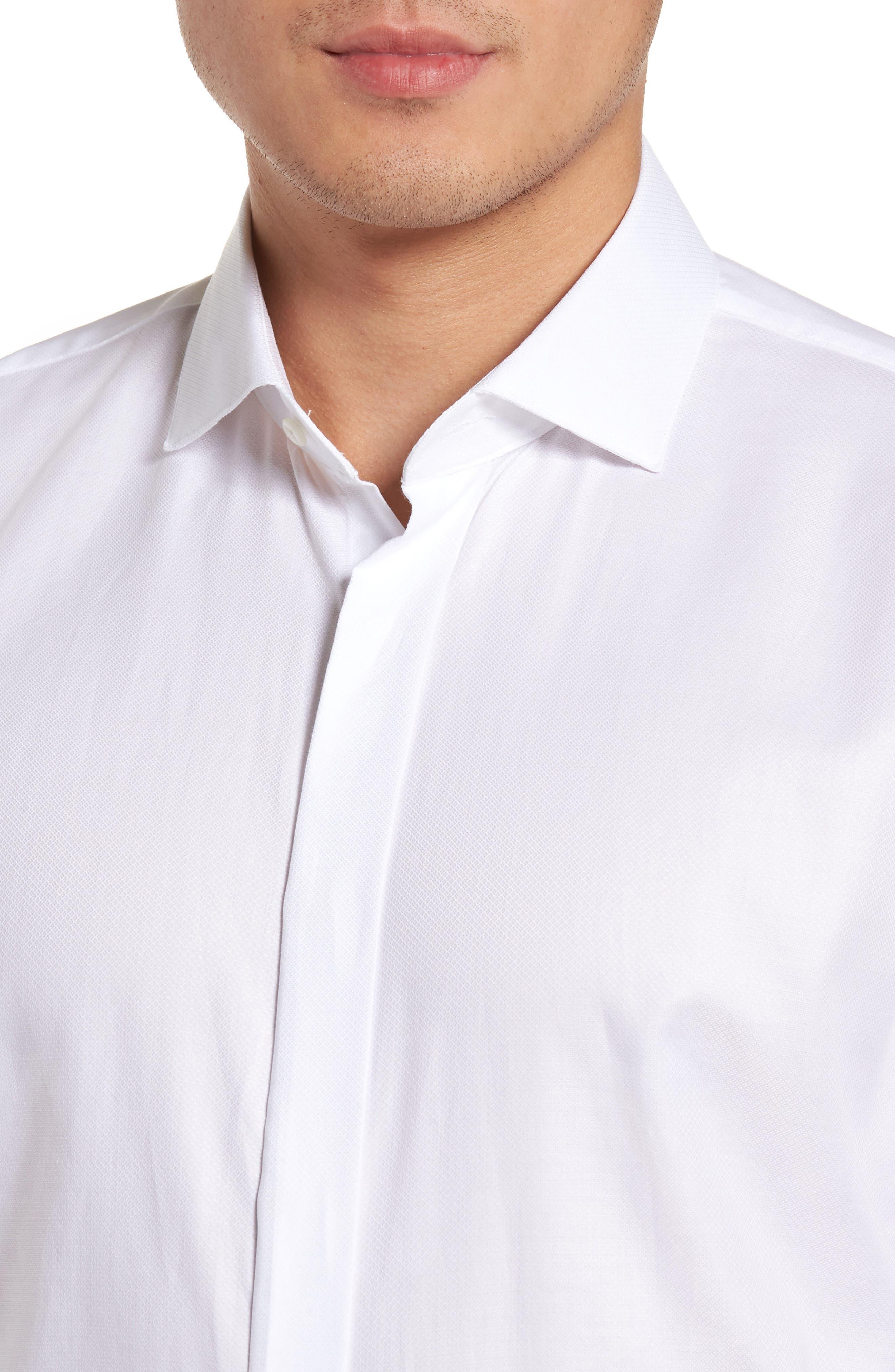 Trim Fit Tuxedo Shirt,                             Alternate thumbnail 4, color,                             White