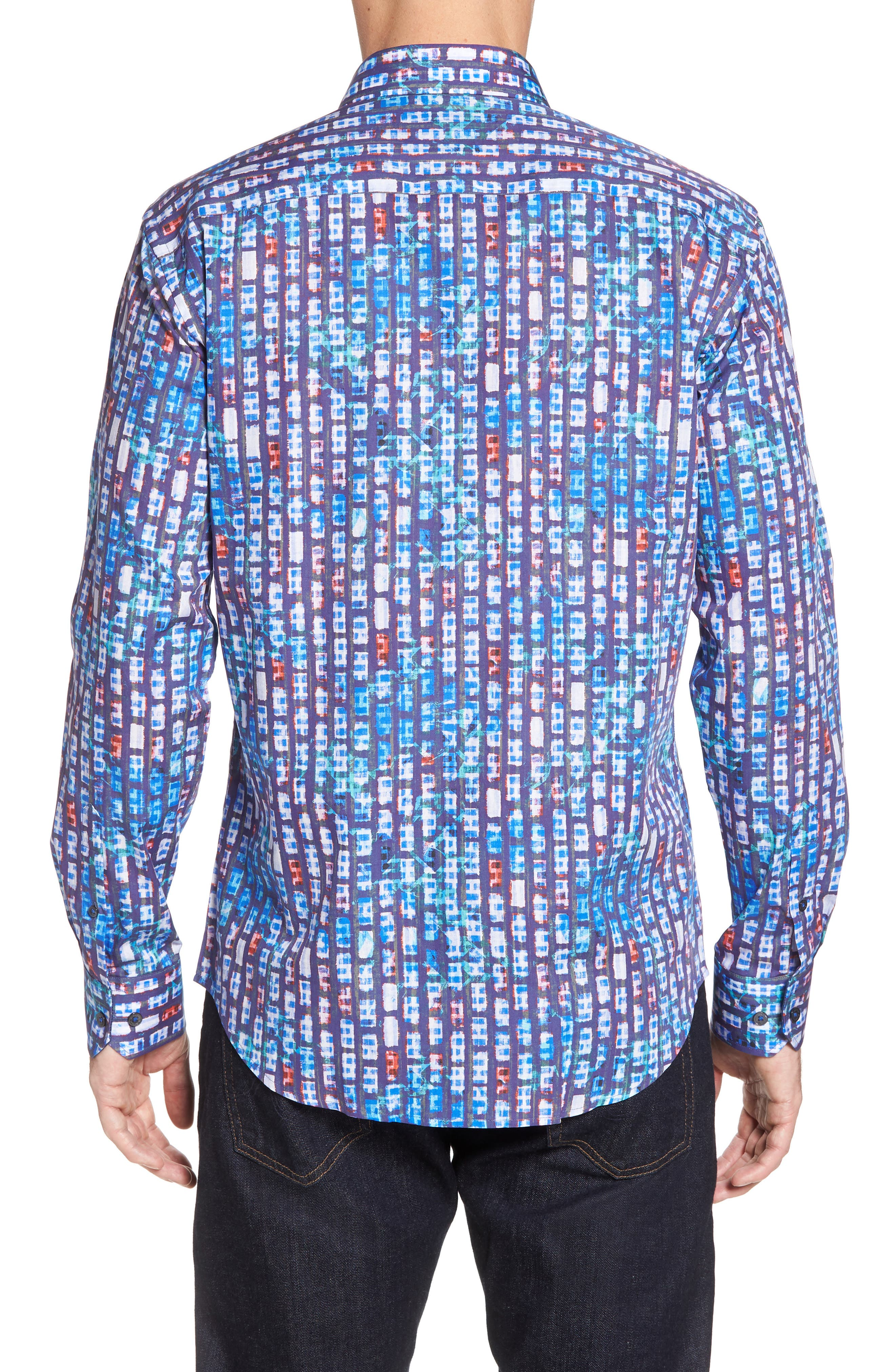 Shaped Fit Urban Abstract Sport Shirt,                             Alternate thumbnail 2, color,                             Periwinkle
