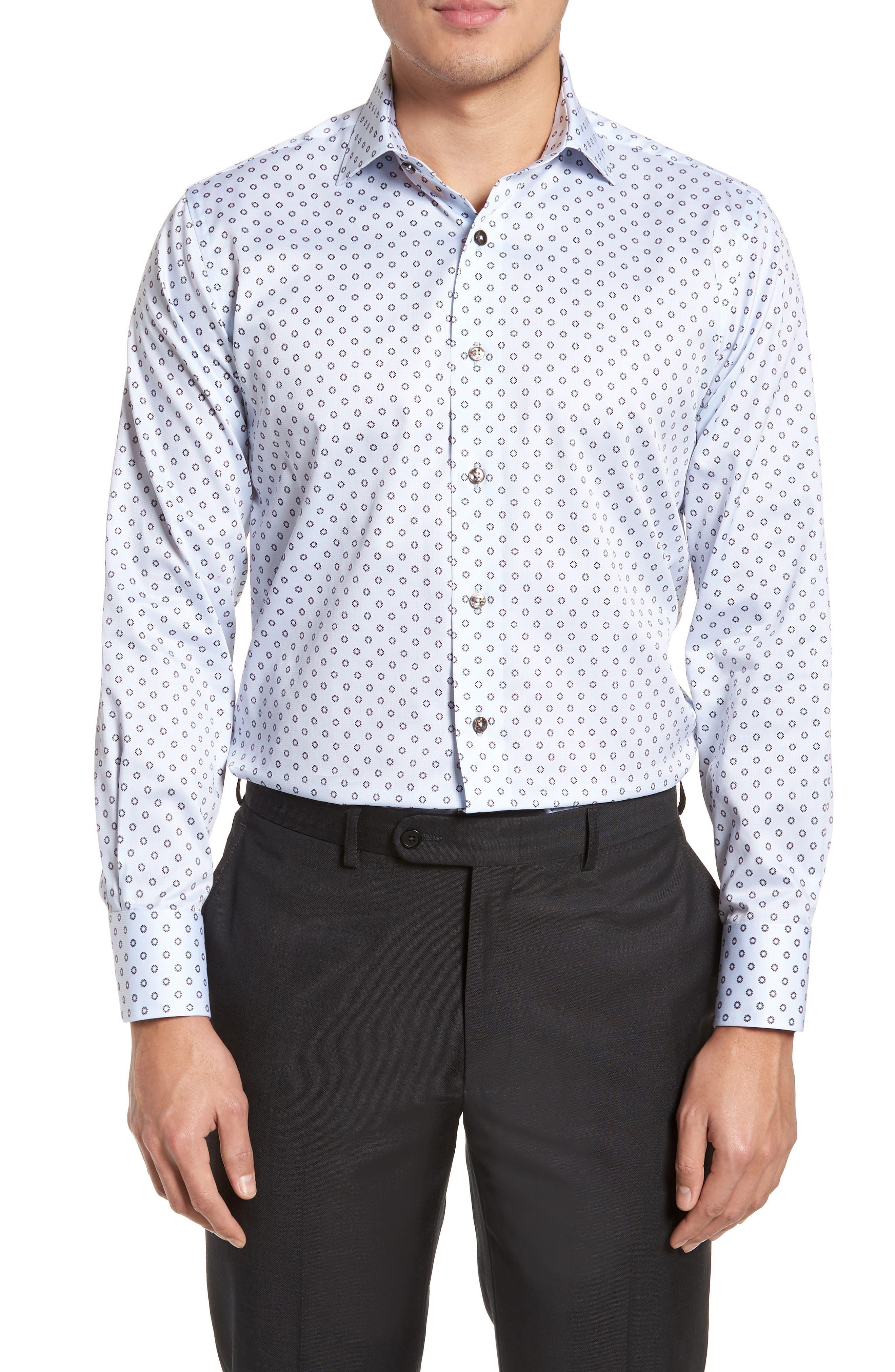 Trim Fit Floral Print Dress Shirt,                         Main,                         color, Light Blue