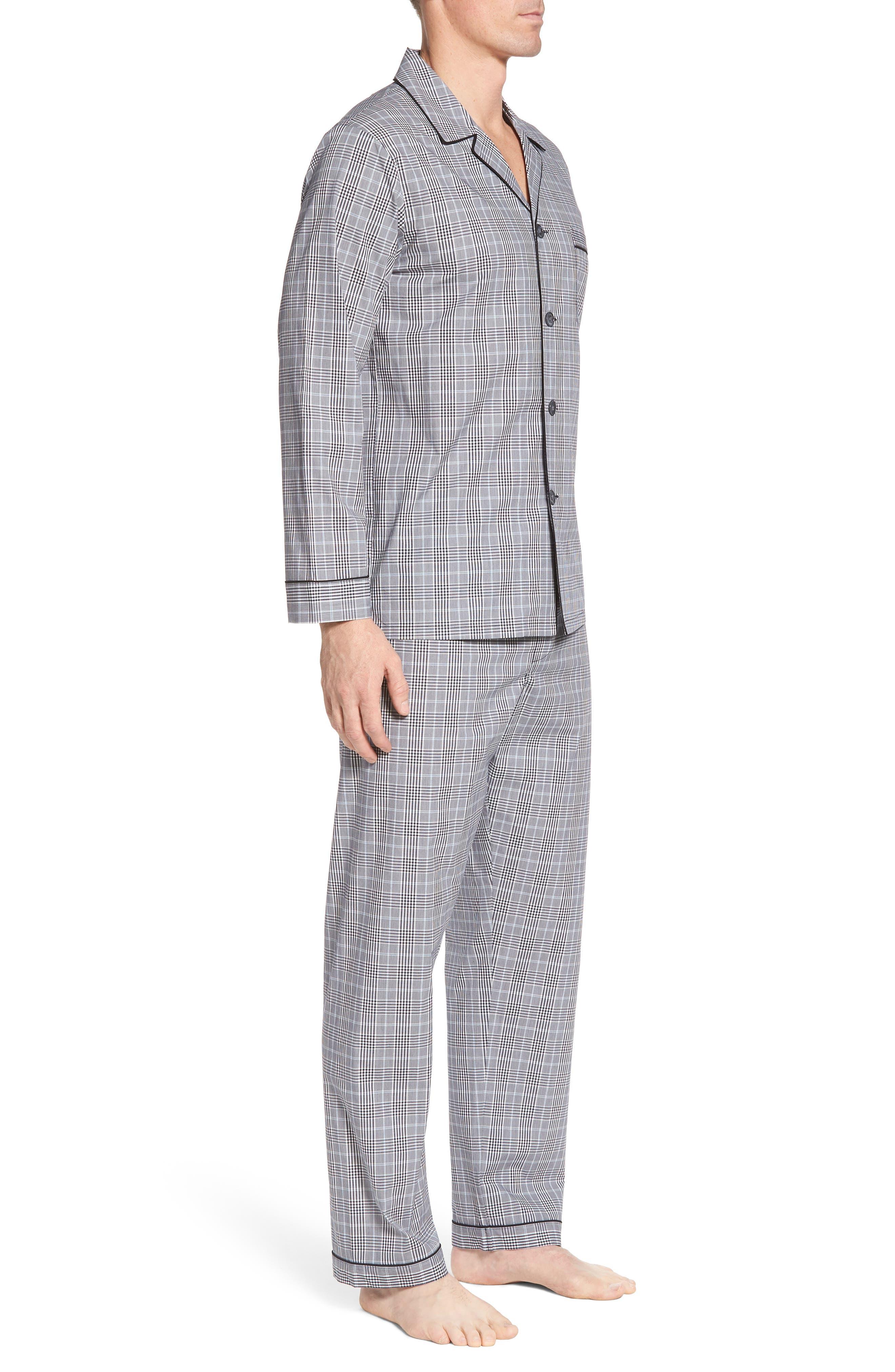 Charleston Pajama Set,                             Alternate thumbnail 3, color,                             Black Plaid