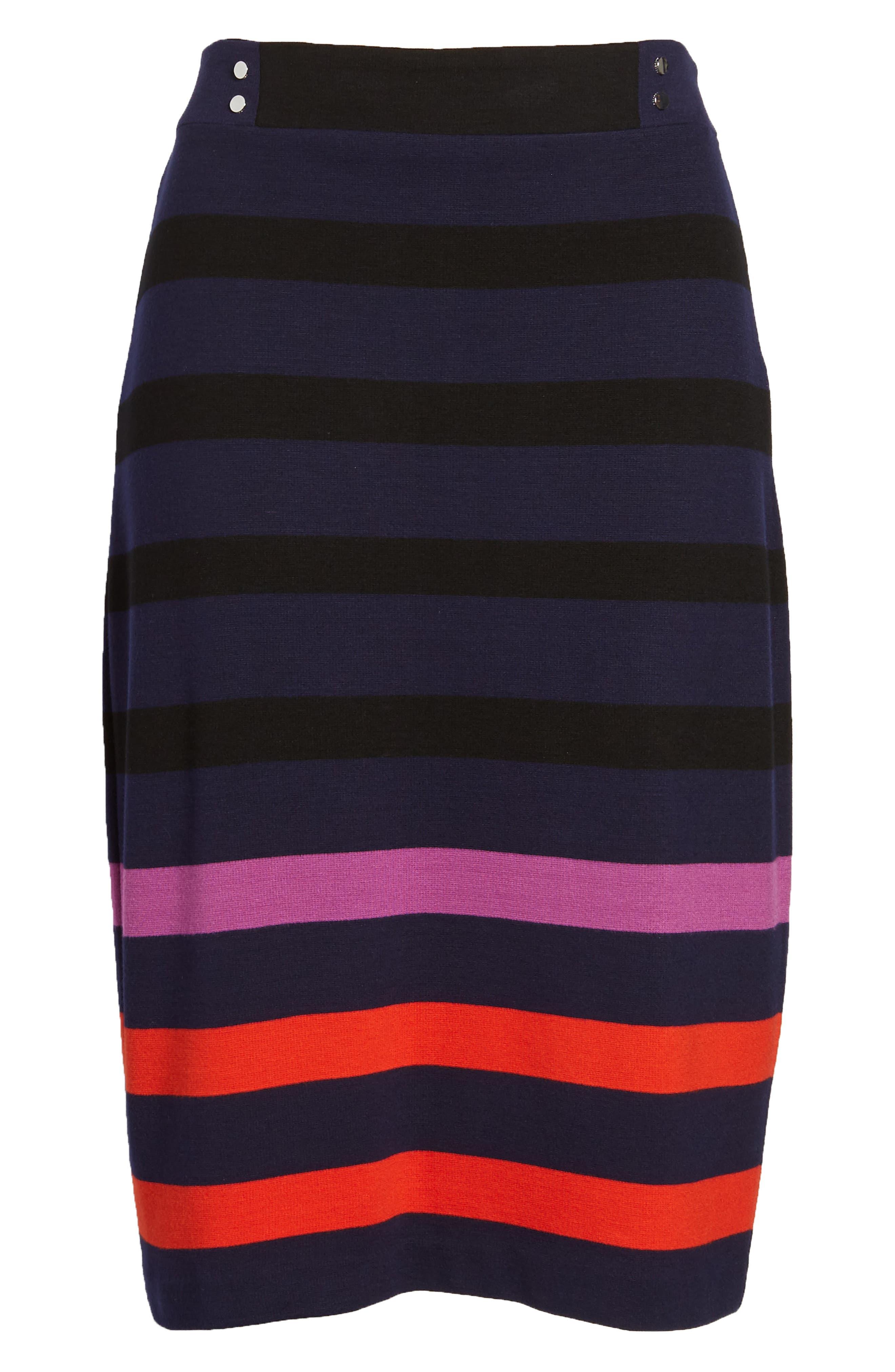 Ebienne Stripe Pencil Skirt,                             Alternate thumbnail 7, color,                             Nautical Blue Fantasy
