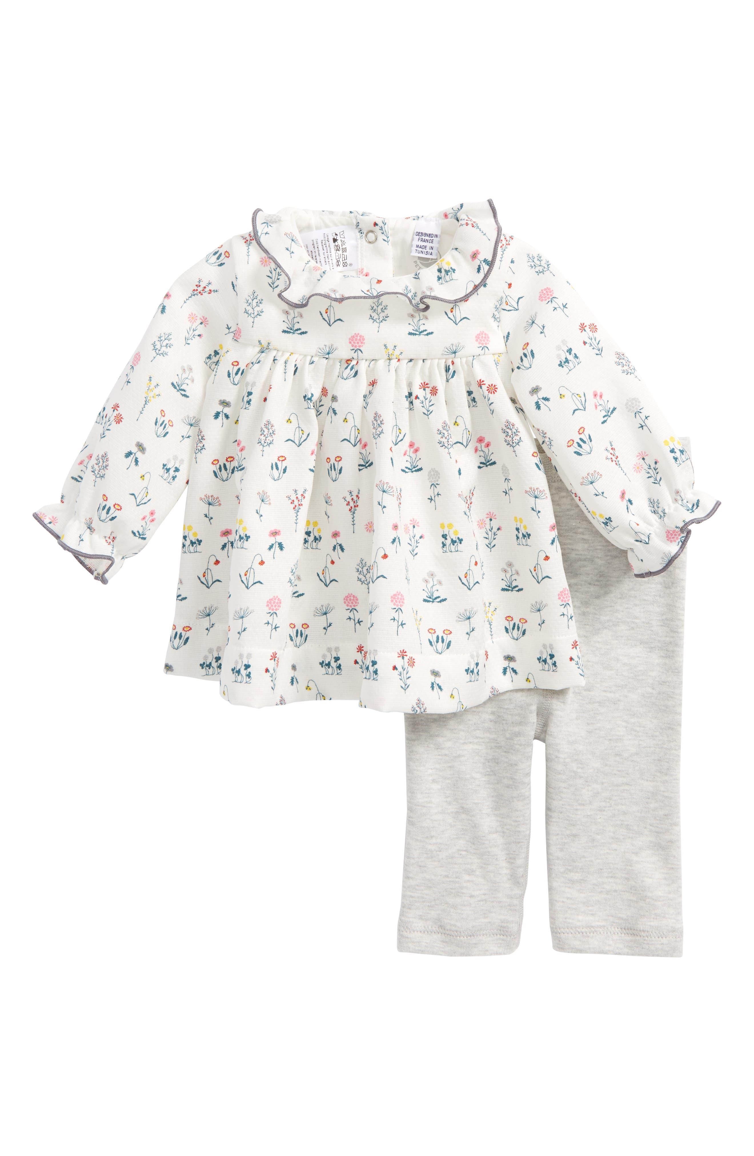 Main Image - Petit Bateau Floral Print Dress & Leggings Set (Baby Girls)