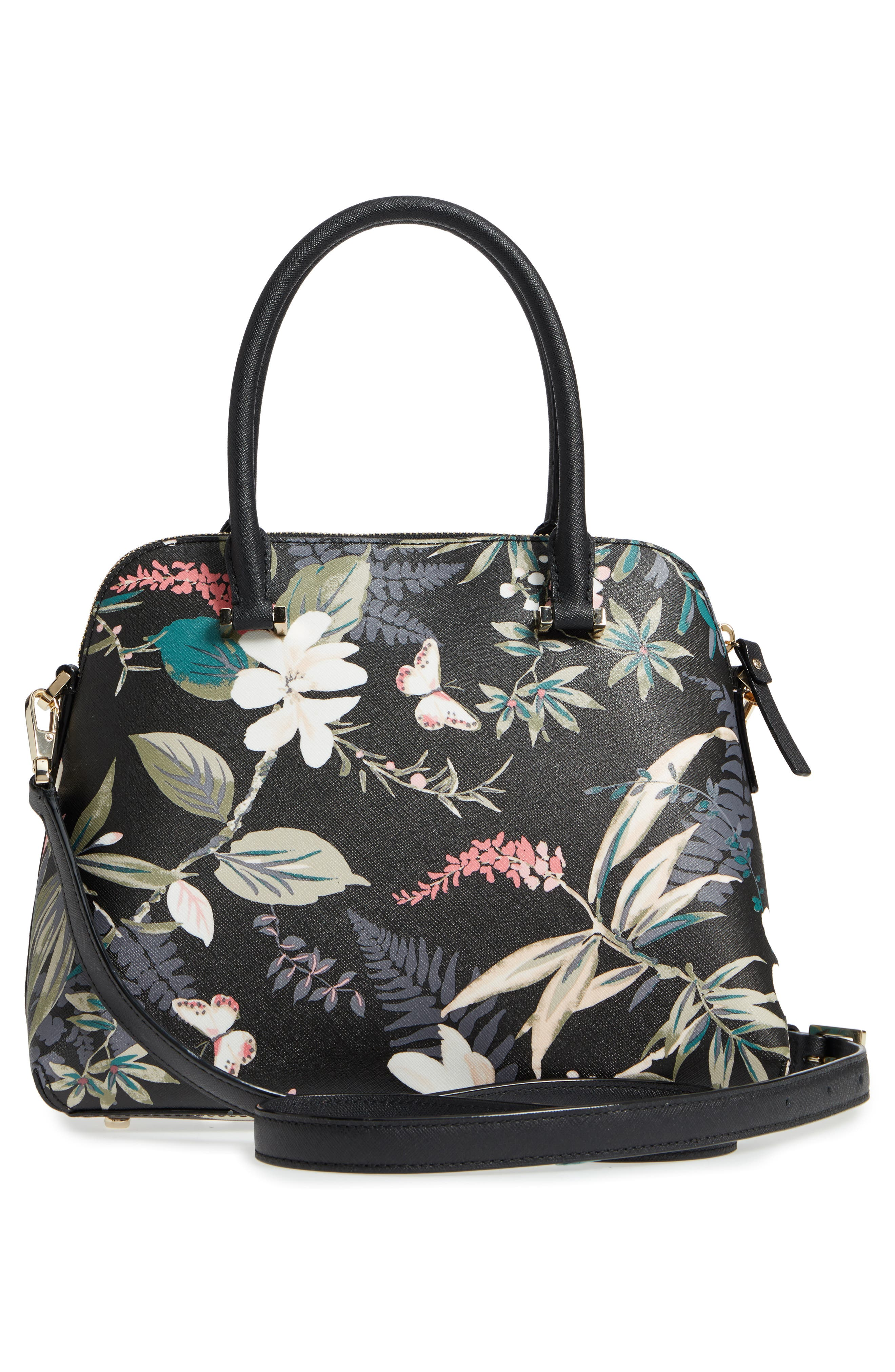cameron street botanical maise faux leather satchel,                             Alternate thumbnail 3, color,                             Black Multi