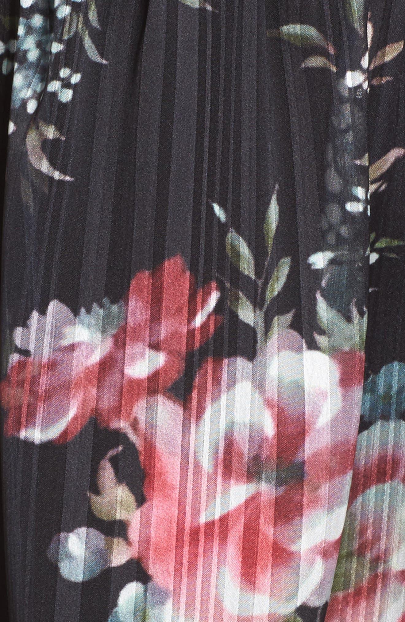 Belonging Floral Cold Shoulder Minidress,                             Alternate thumbnail 5, color,                             Dark Floral Print