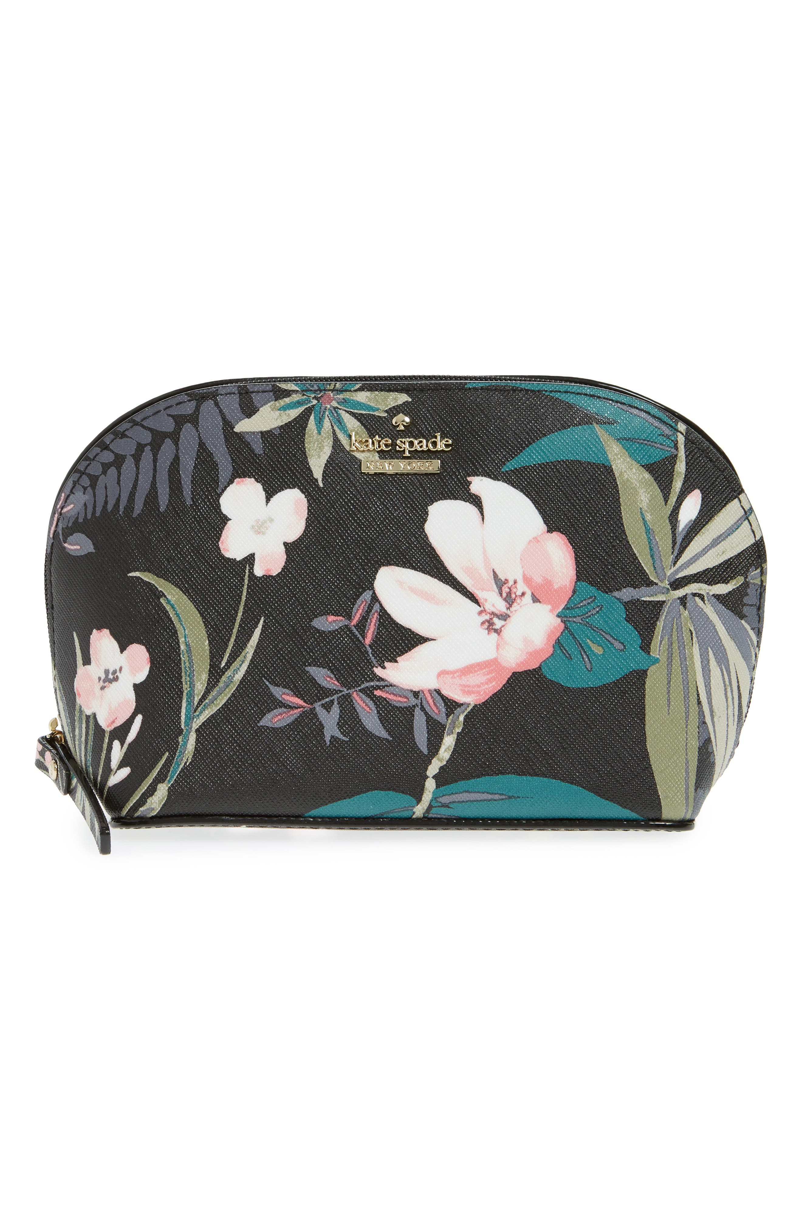 cameron street - small botanical abalene faux leather cosmetics case,                             Main thumbnail 1, color,                             Black Multi