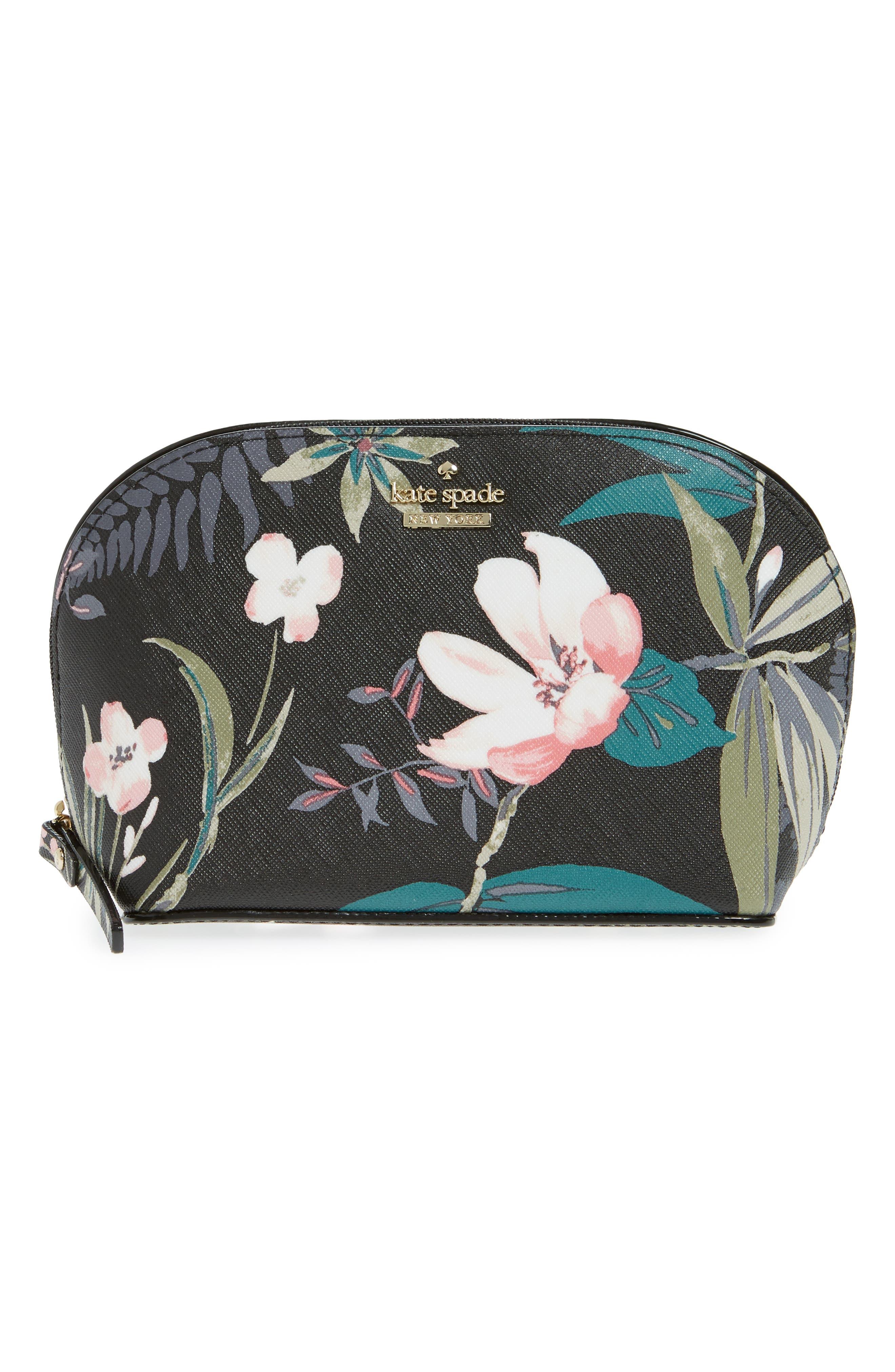 cameron street - small botanical abalene faux leather cosmetics case,                         Main,                         color, Black Multi