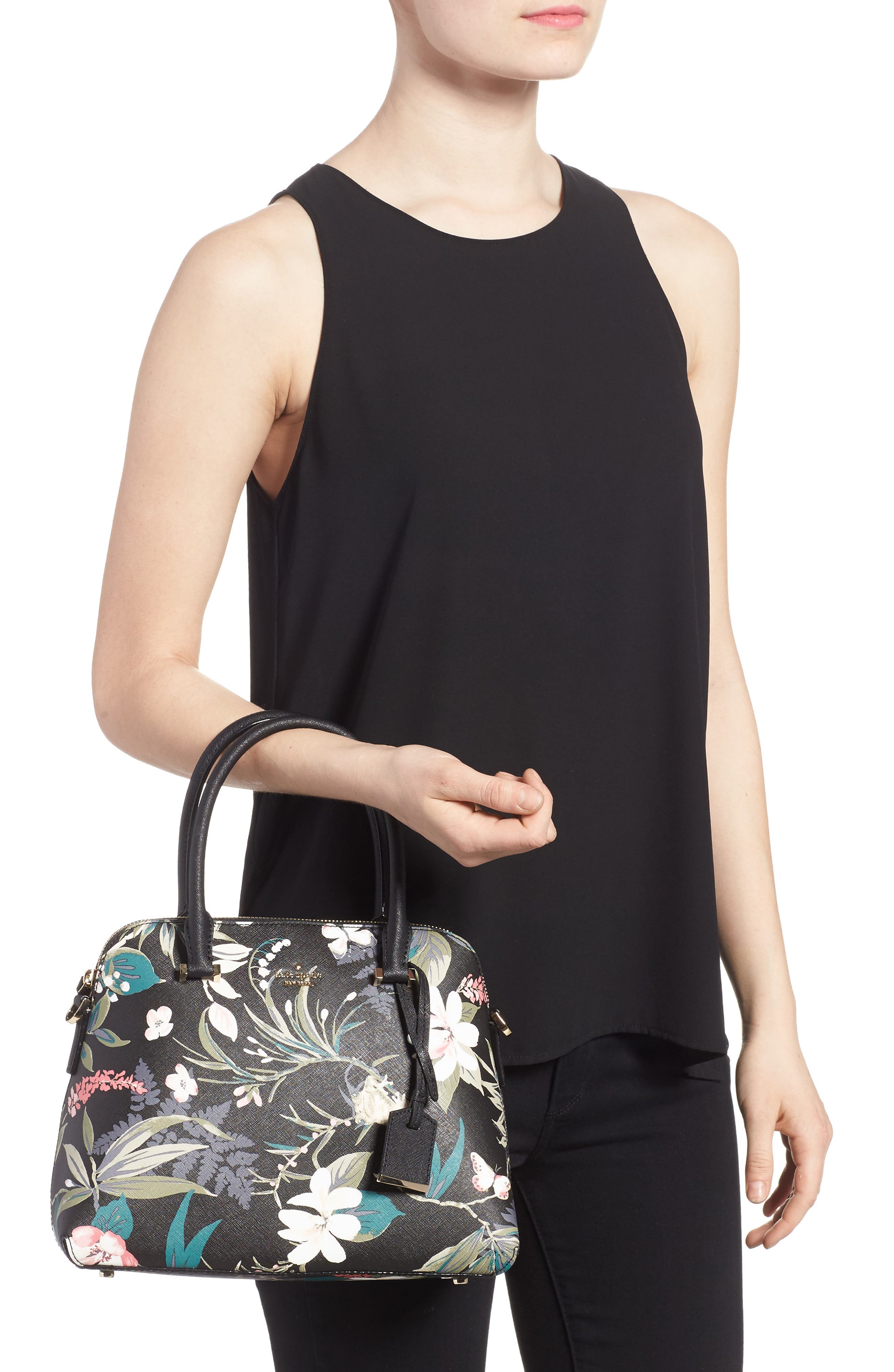 cameron street botanical maise faux leather satchel,                             Alternate thumbnail 2, color,                             Black Multi