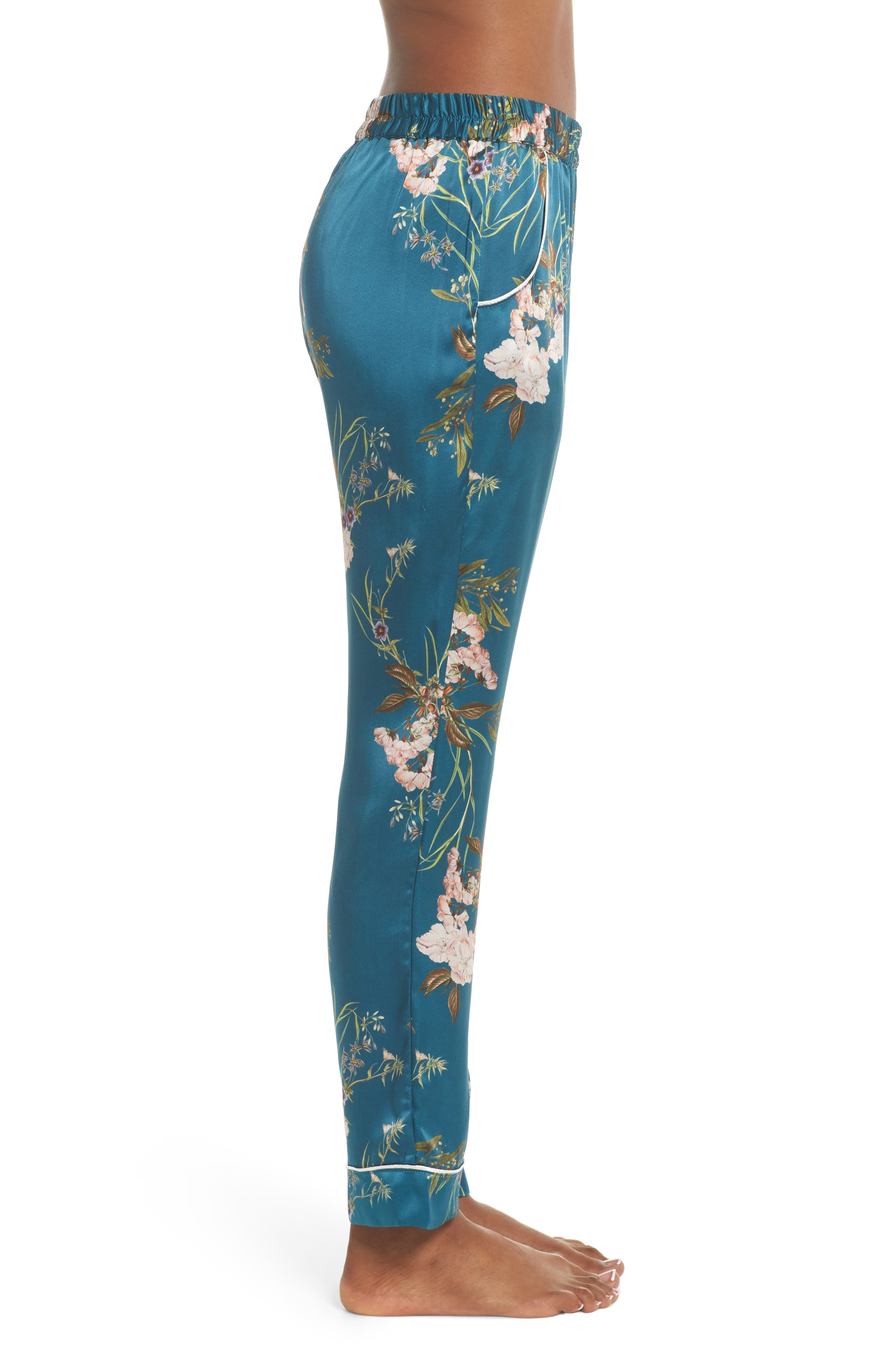 Alexandra Silk Pajama Pants,                             Alternate thumbnail 3, color,                             Teal Floral