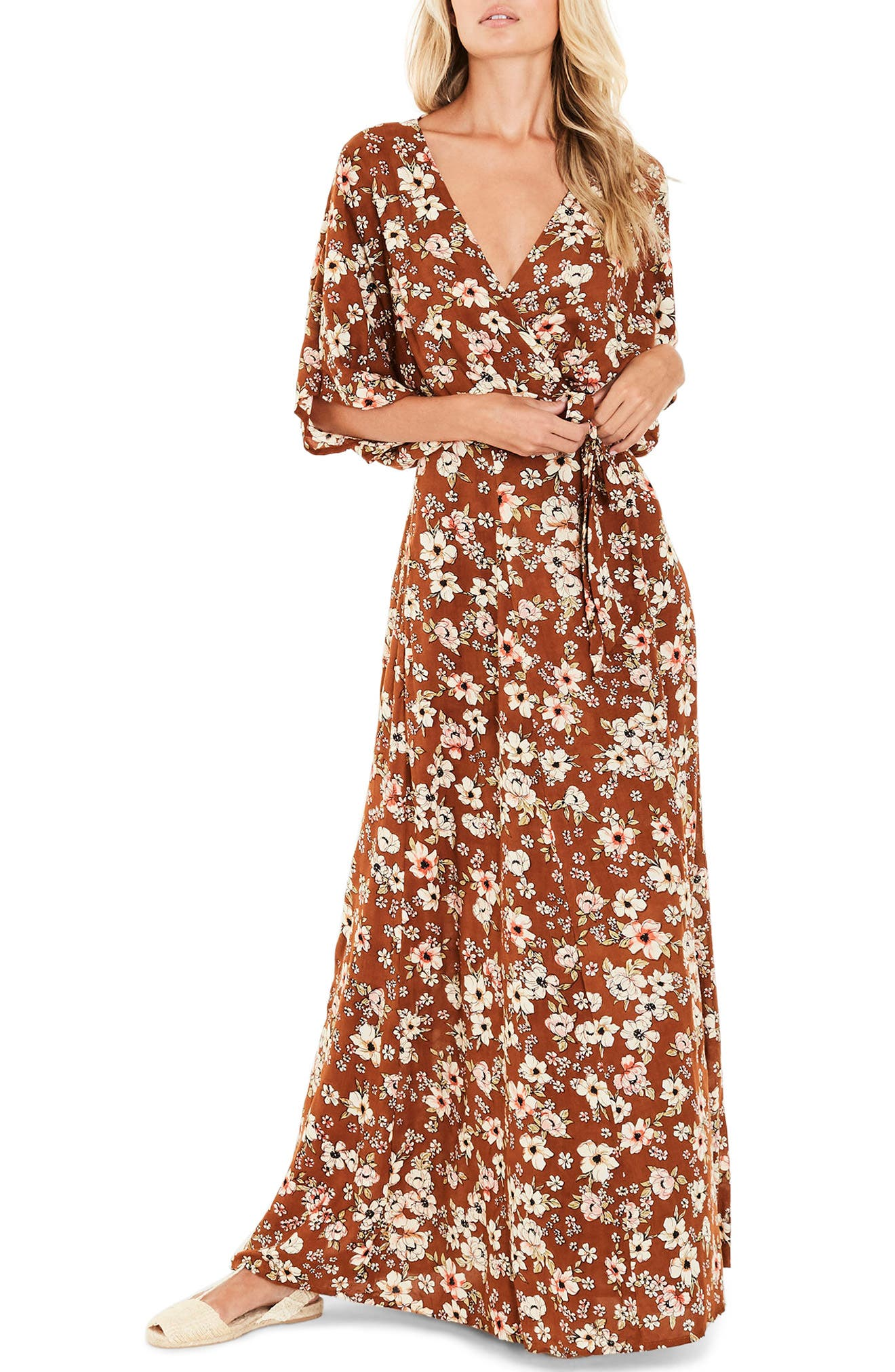 Bergamo Maxi Wrap Dress,                         Main,                         color, Cecile Rose