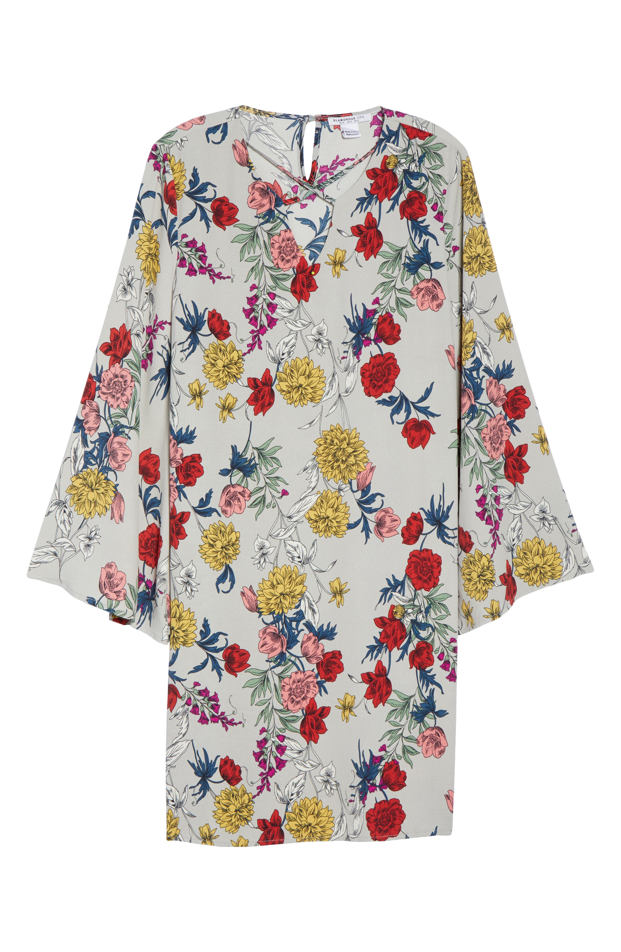 Print Bell Sleeve Shift Dress,                             Alternate thumbnail 6, color,                             Grey Multi Floral