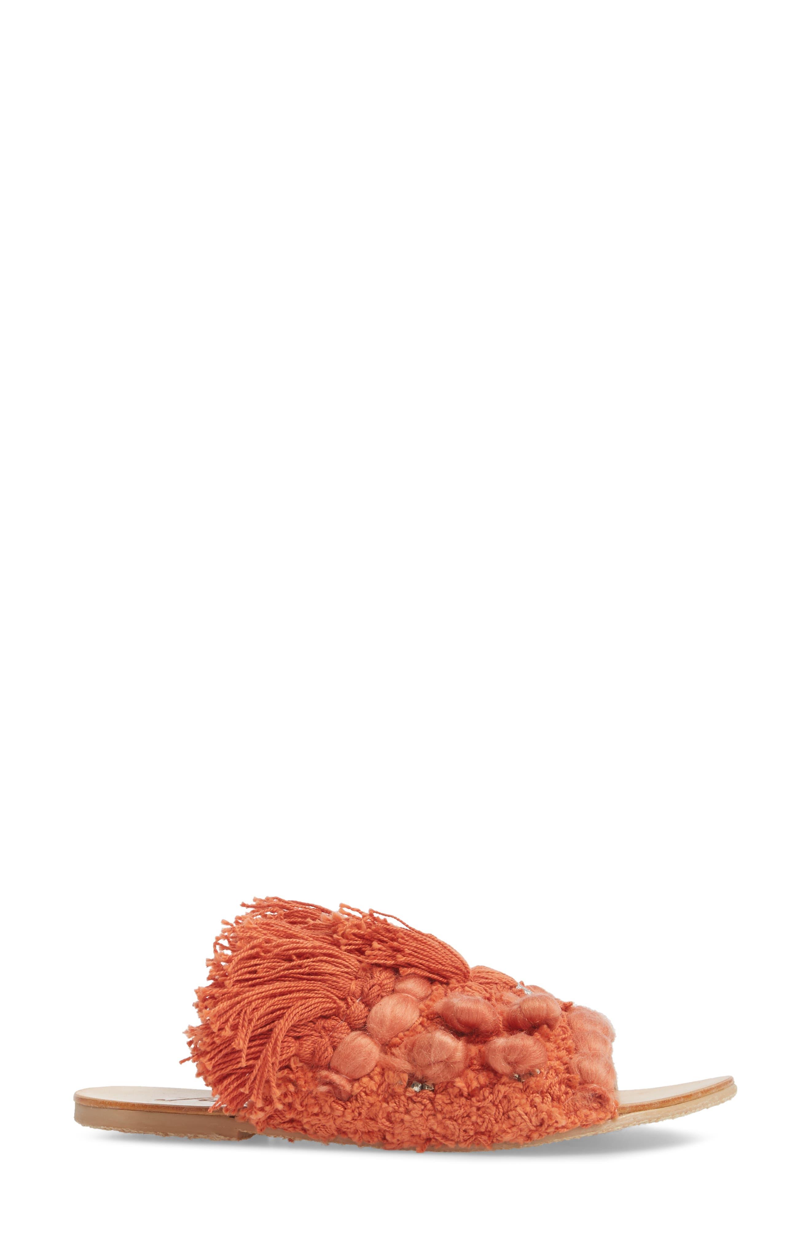 Mars at Night Tasseled Slide Sandal,                             Alternate thumbnail 3, color,                             Coral
