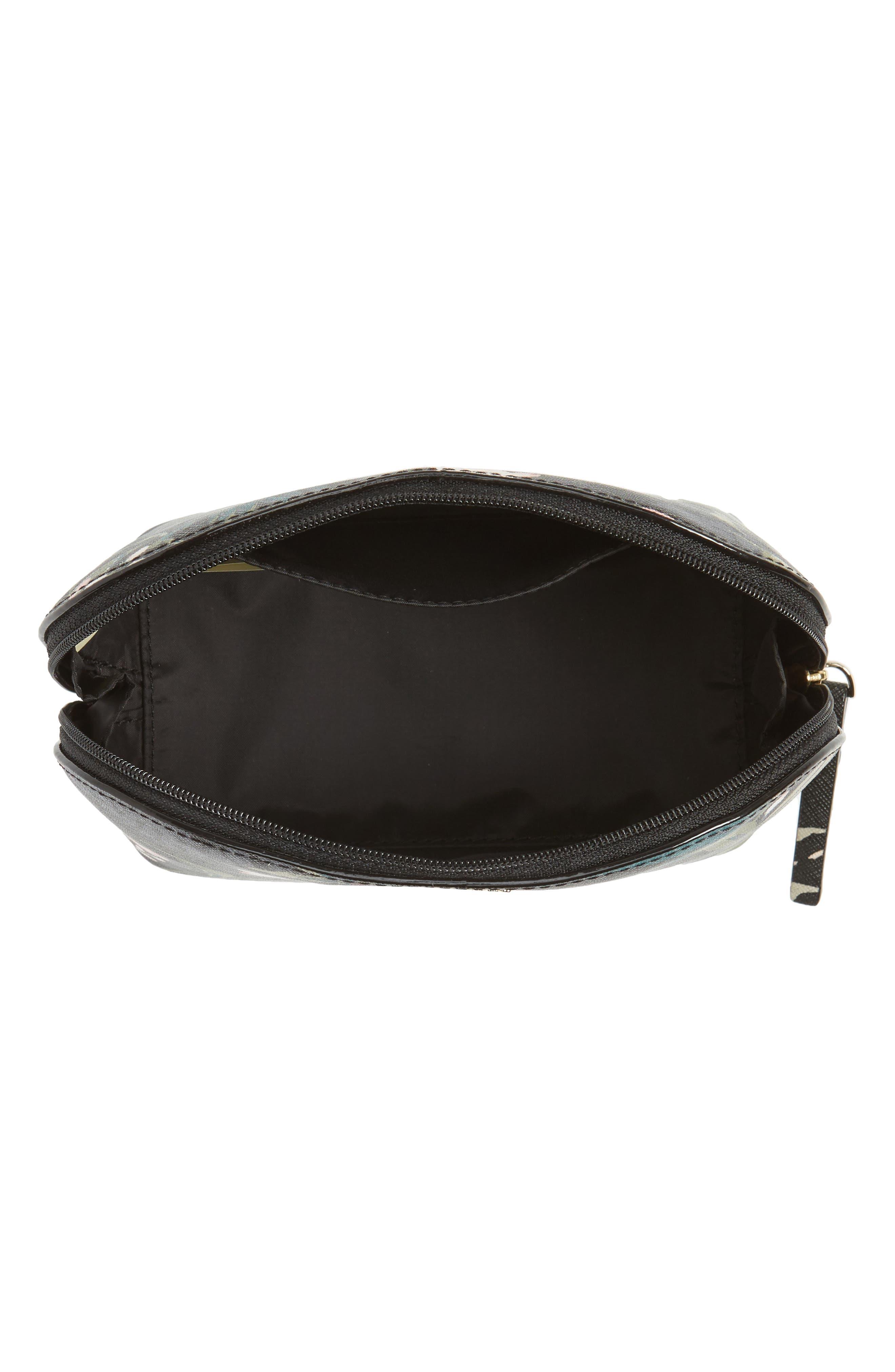cameron street - small botanical abalene faux leather cosmetics case,                             Alternate thumbnail 3, color,                             Black Multi
